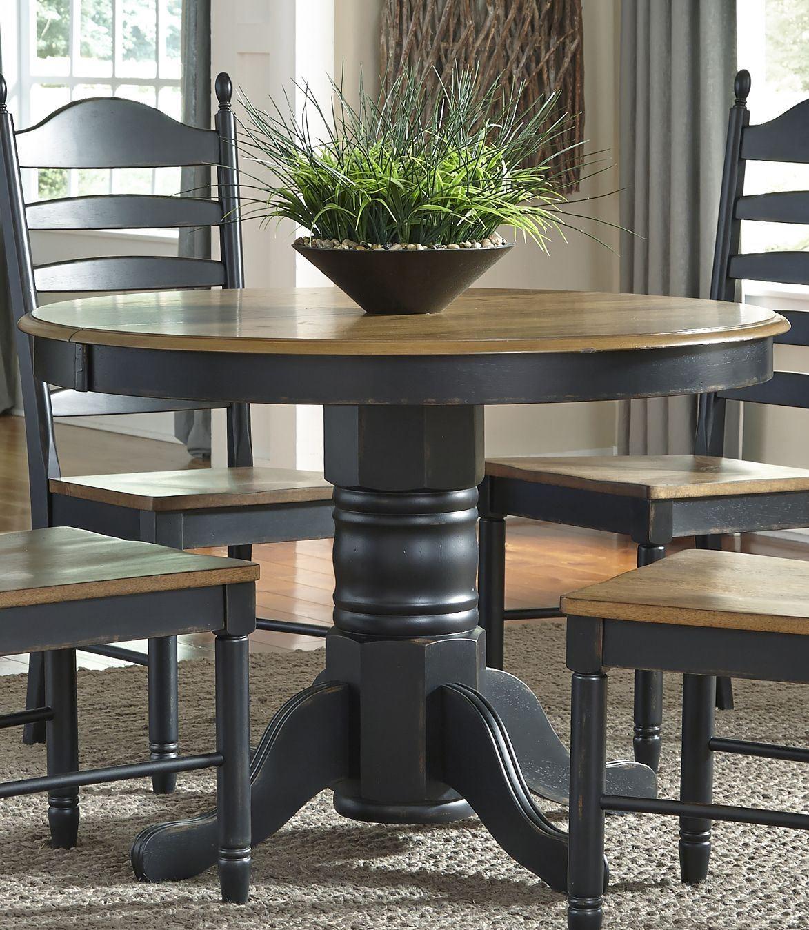 Liberty Furniture Springfield 7 Piece Pedestal Table Set: Springfield II Honey And Black Extendable Pedestal Dining