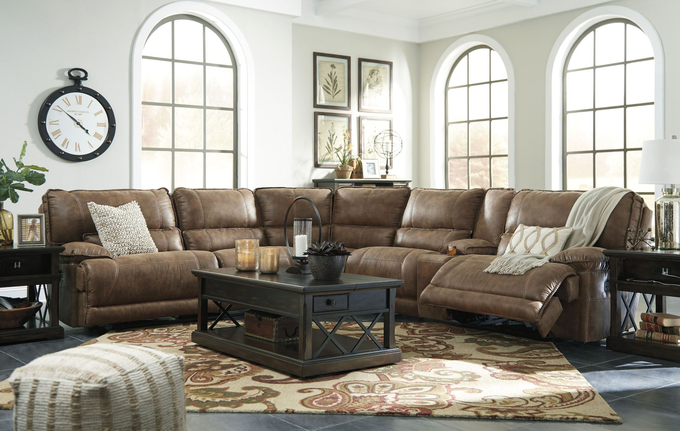 Grattis Saddle Power Reclining Sectional From Ashley