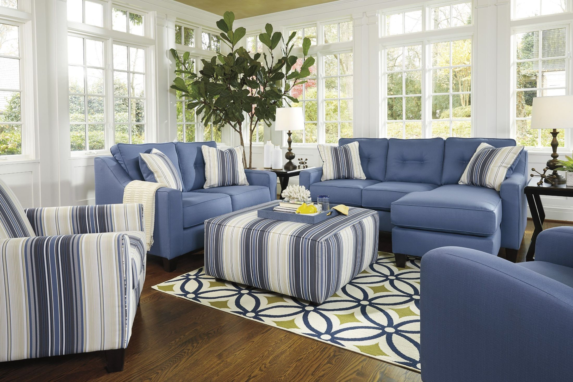 Aldie Nuvella Blue Queen Sofa Chaise Sleeper 6870368 Ashley