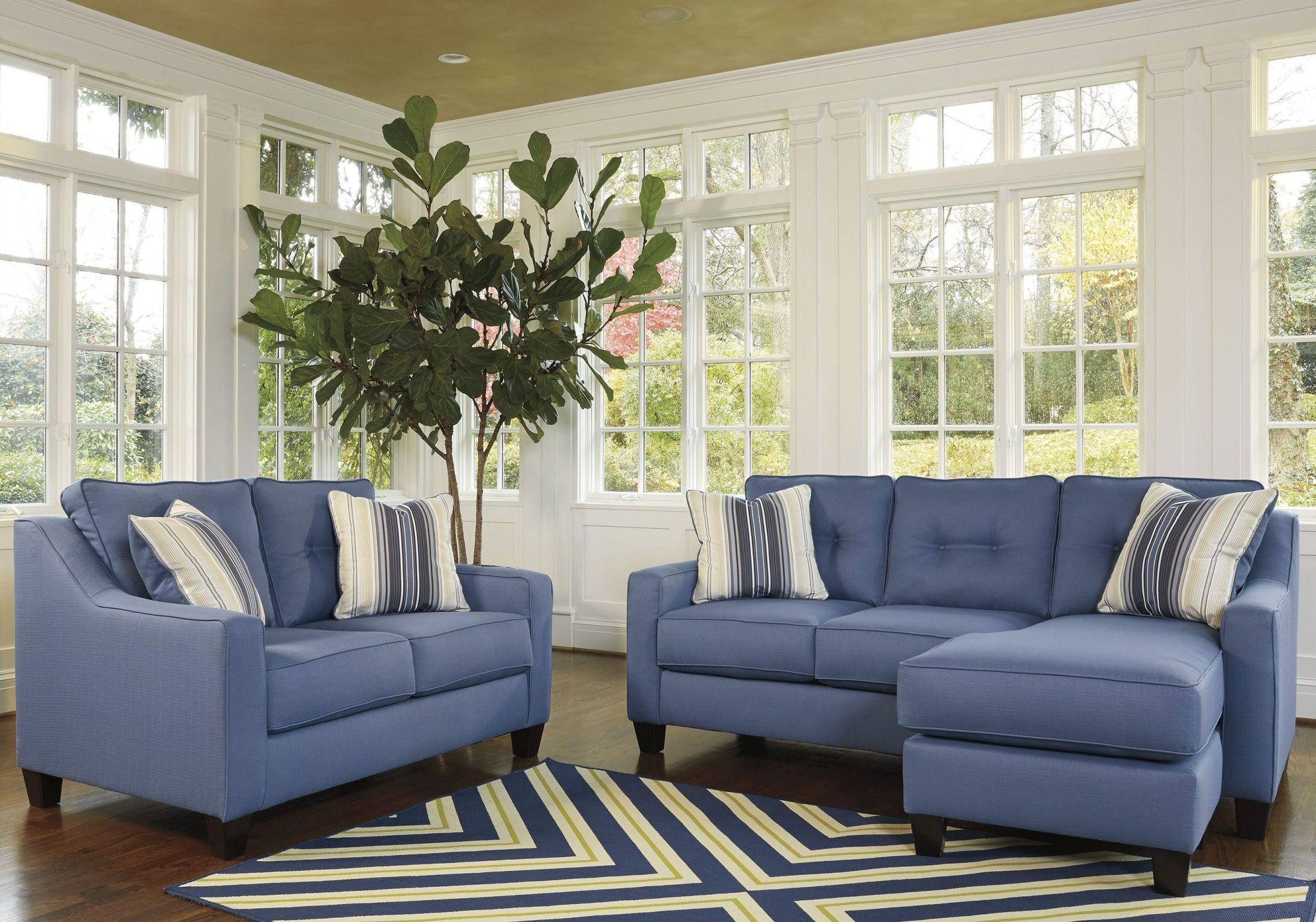 Aldie Nuvella Blue Queen Sofa Chaise Sleeper 6870368 Ashley