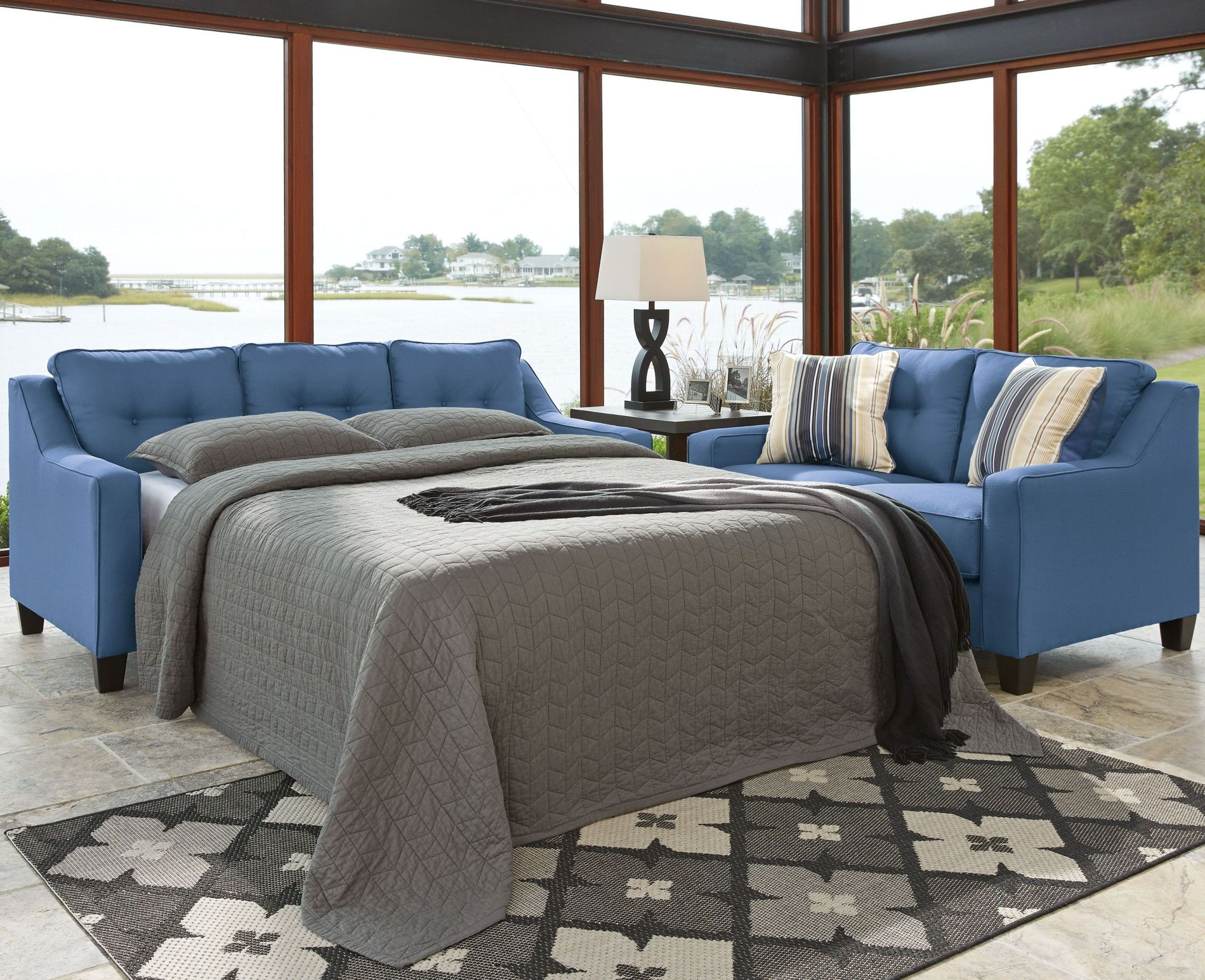 Aldie Nuvella Blue Queen Sofa Chaise Sleeper From Ashley