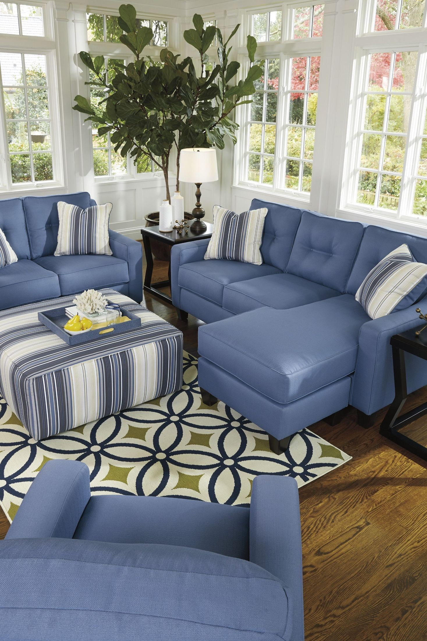 Aldie Nuvella Blue Sofa Chaise 6870318 Ashley