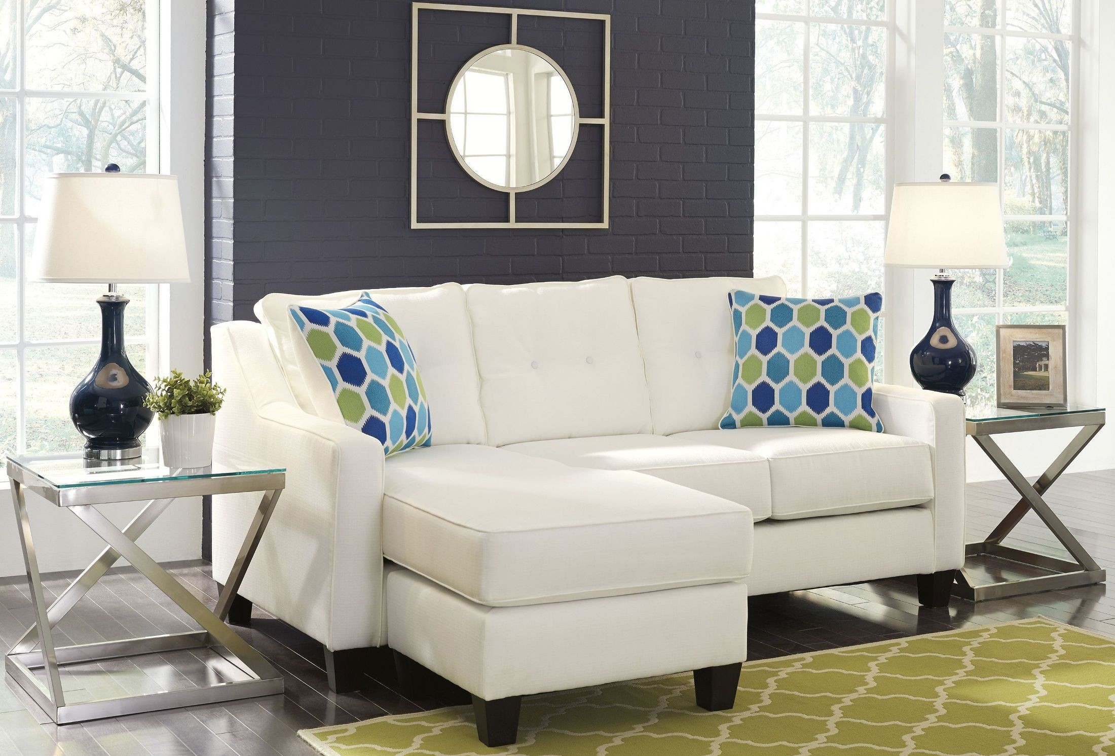 Aldie Nuvella White Queen Sofa Chaise Sleeper From Ashley