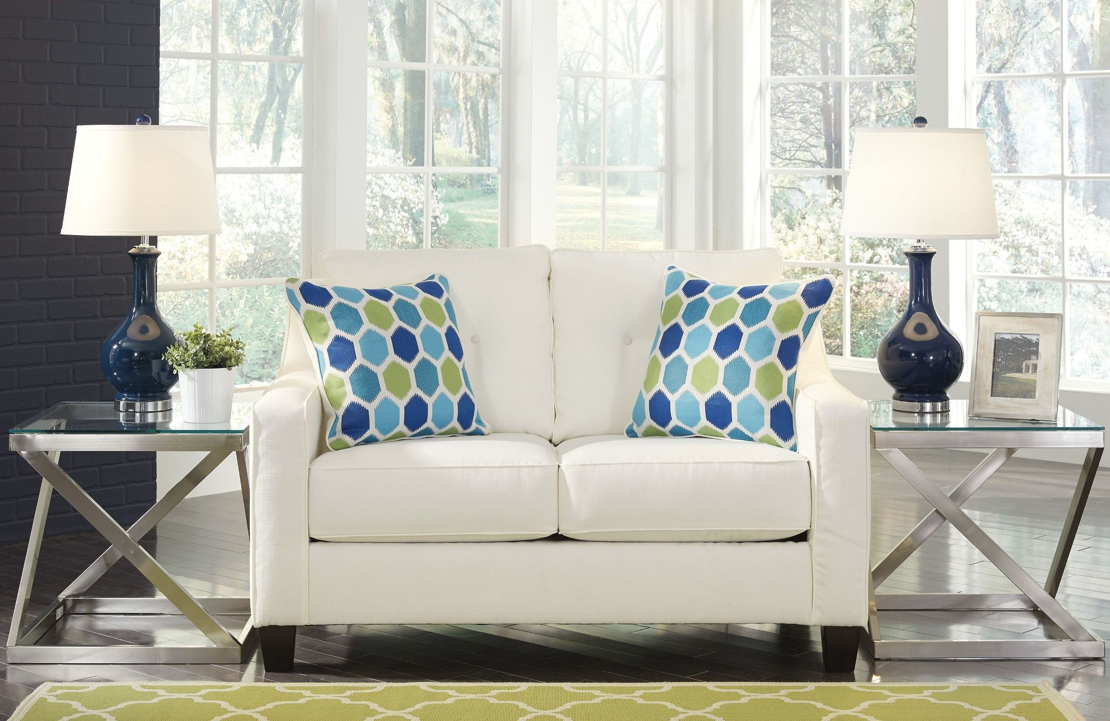Aldie Nuvella White Loveseat From Ashley Coleman Furniture