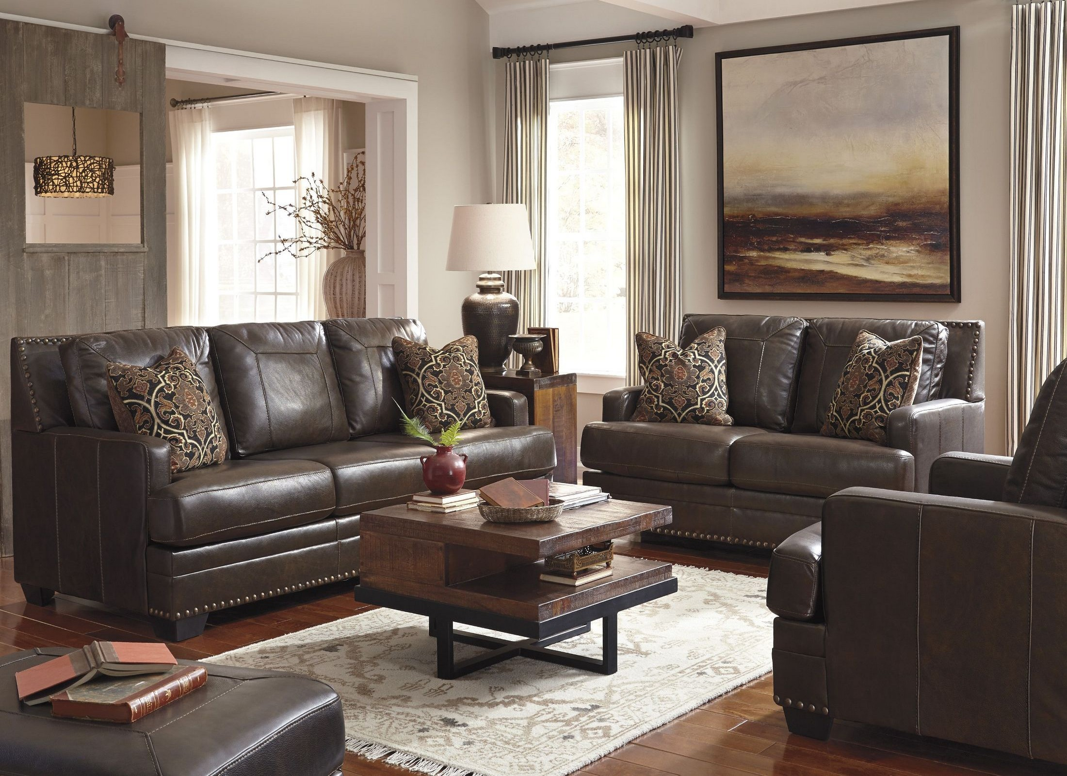 Corvan Antique Sofa Chair Living Room Set From Ashley Coleman Furniture
