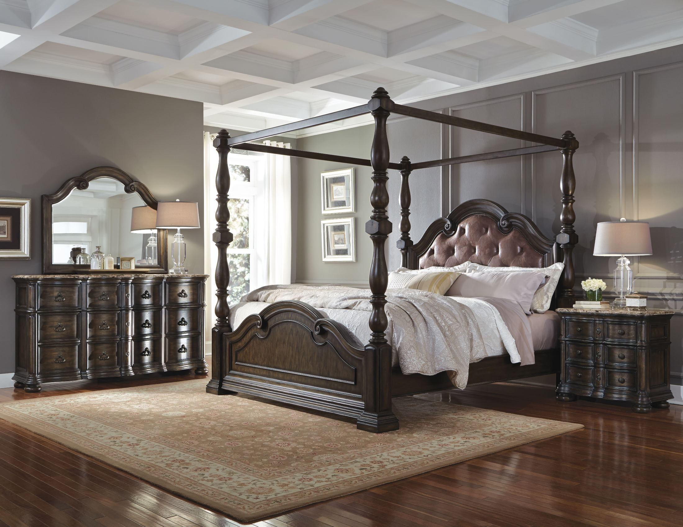 Cortina Canopy Bedroom Set, 694150-694151-694152-694152