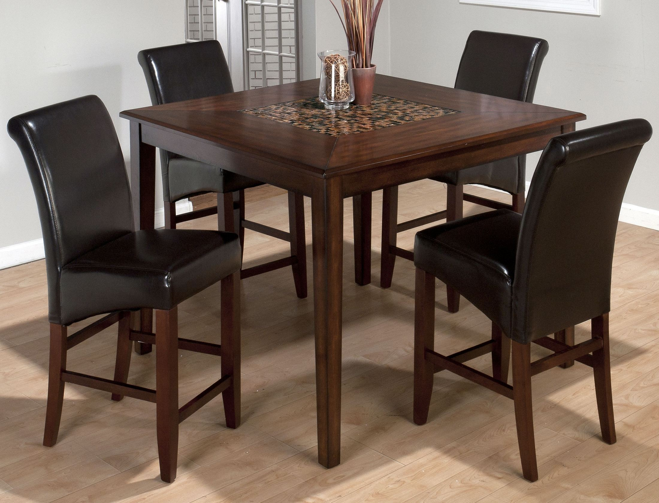 Counter Height Dining Tables: Baroque Brown Mosaic Inlay Counter Height Dining Table