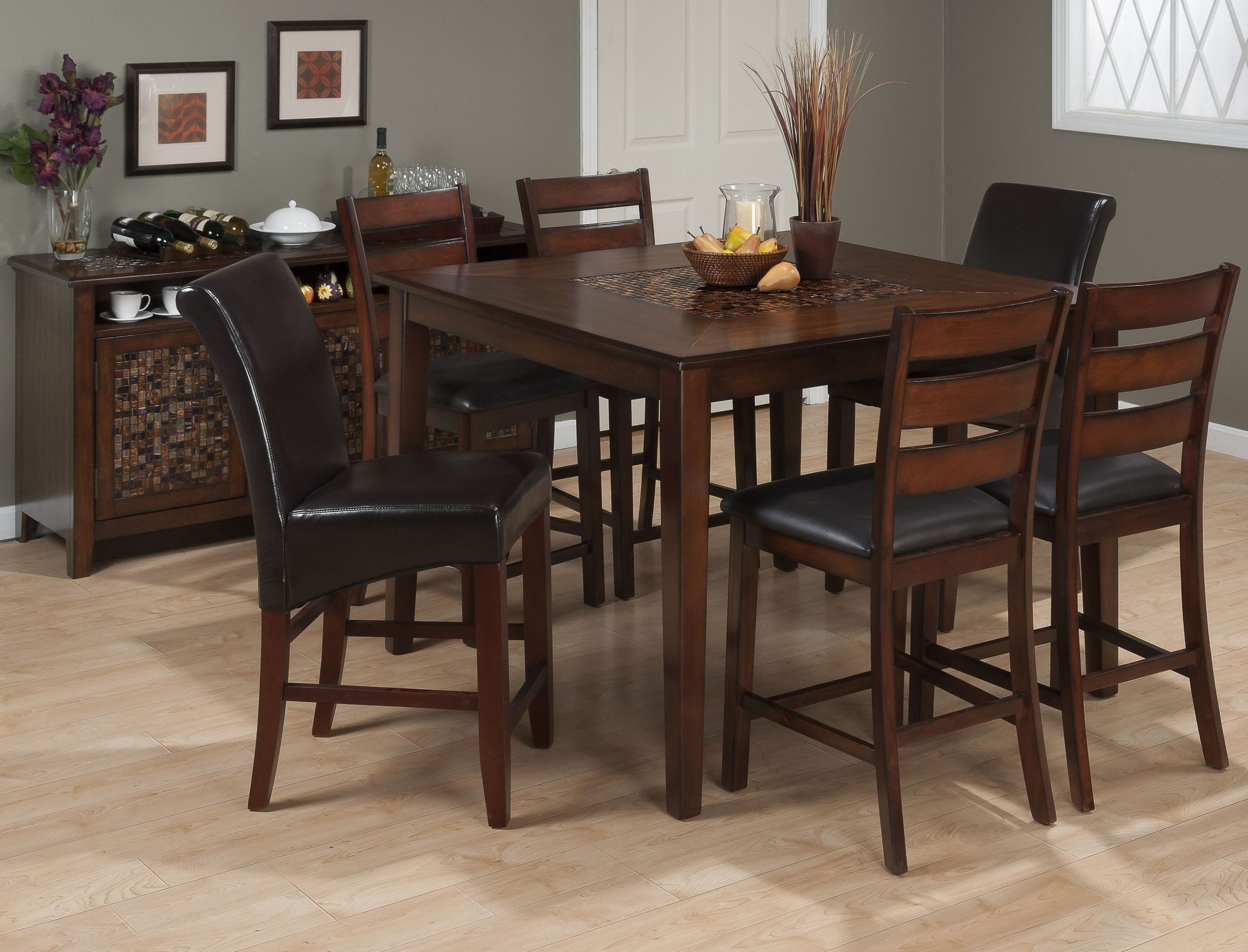 Baroque brown mosaic inlay counter height dining room set for Baroque dining table set