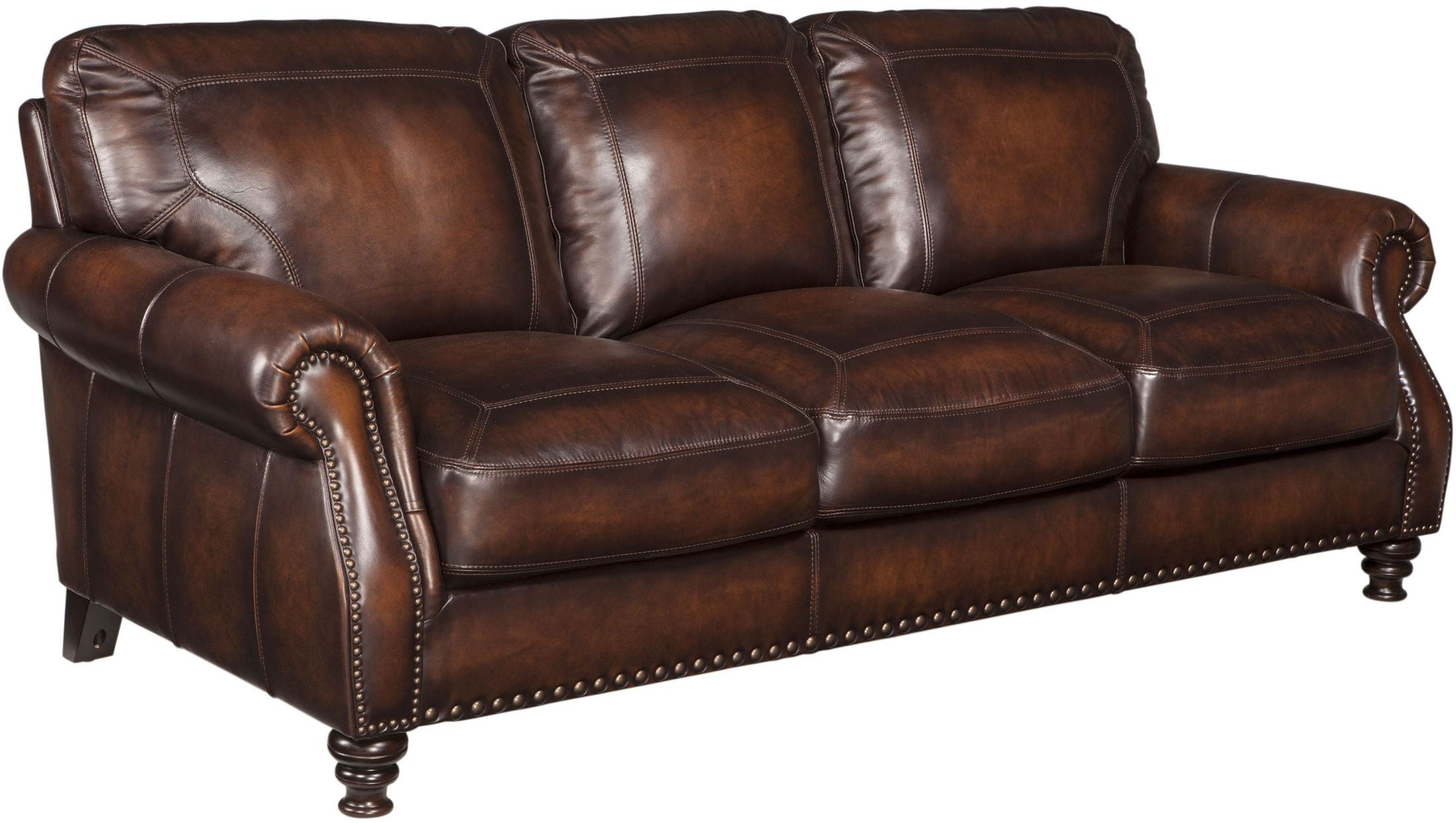 X. Milton Espresso Leather Sofa