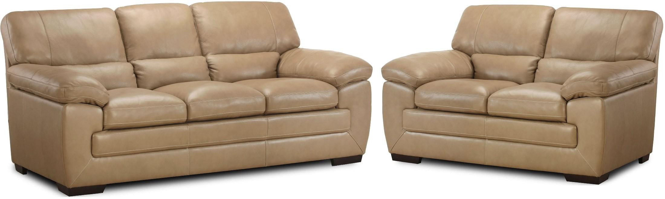 biscayne longhorn wheat leather living room set - Simon Li Furniture