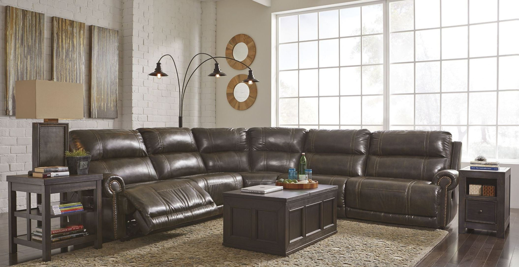 Dak Durablend Antique Reclining Sectional From Ashley
