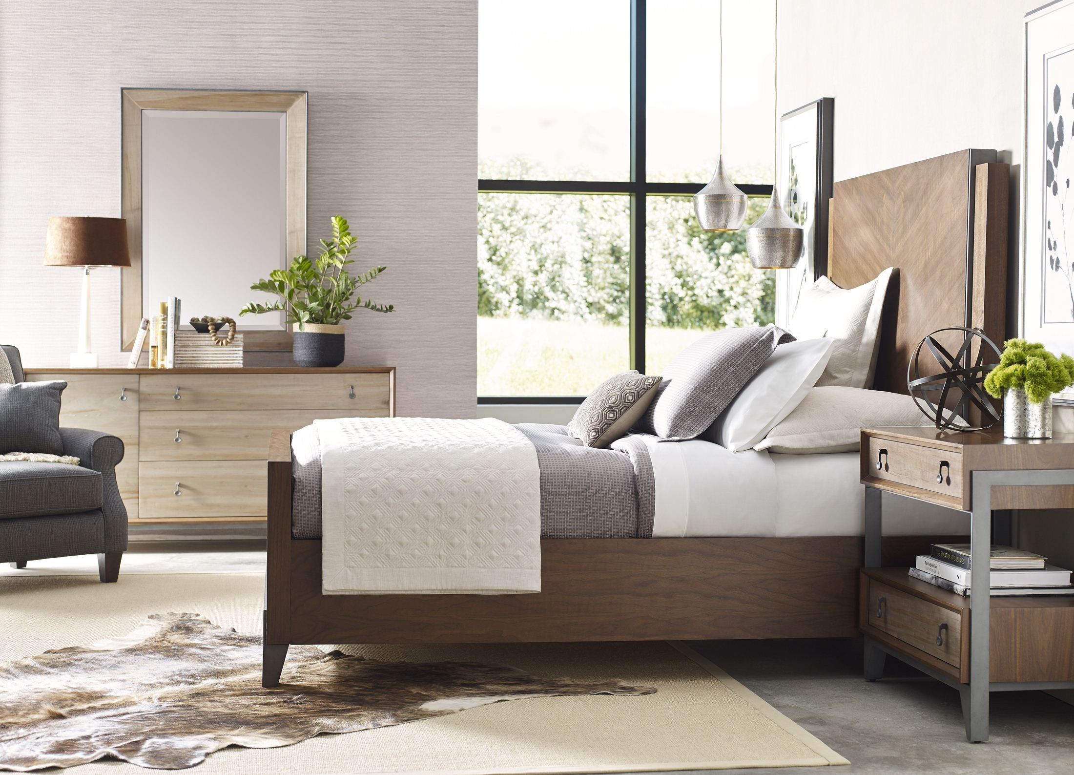 Ad modern synergy walnut chevron panel bedroom set from for American walnut bedroom furniture