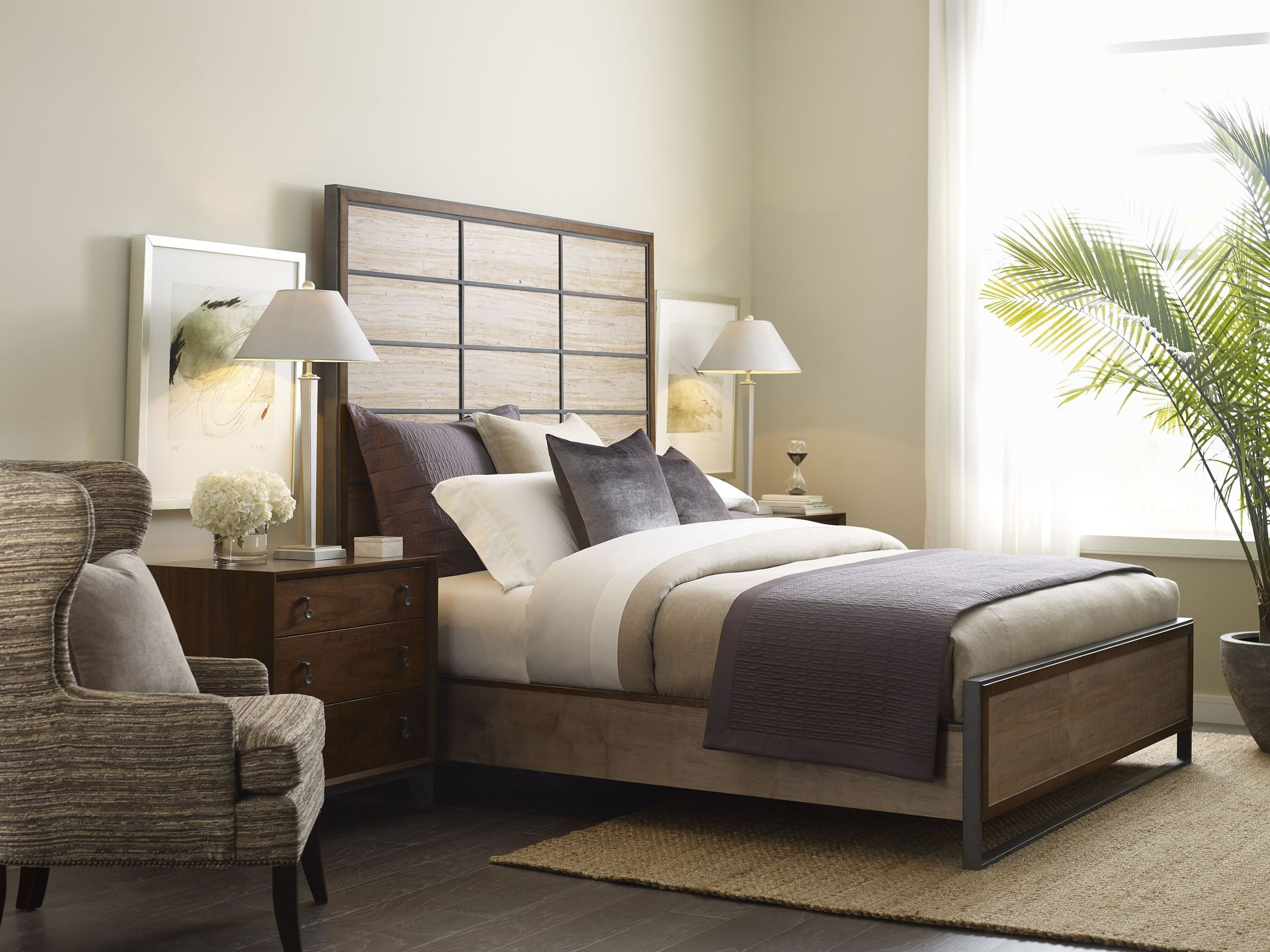 Ad modern synergy walnut and ambrosia maple matrix panel - Contemporary maple bedroom furniture ...