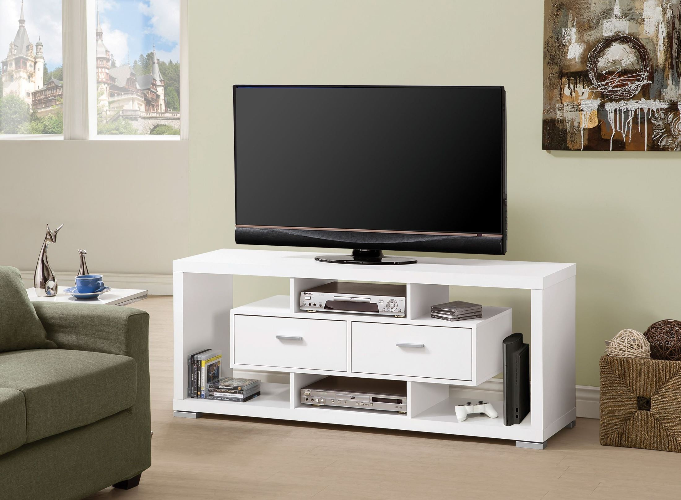 700113 white storage tv console from coaster 700113 for Tv console with storage