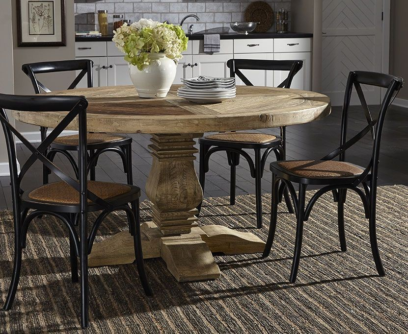 manor house distressed round pedestal dining room set from