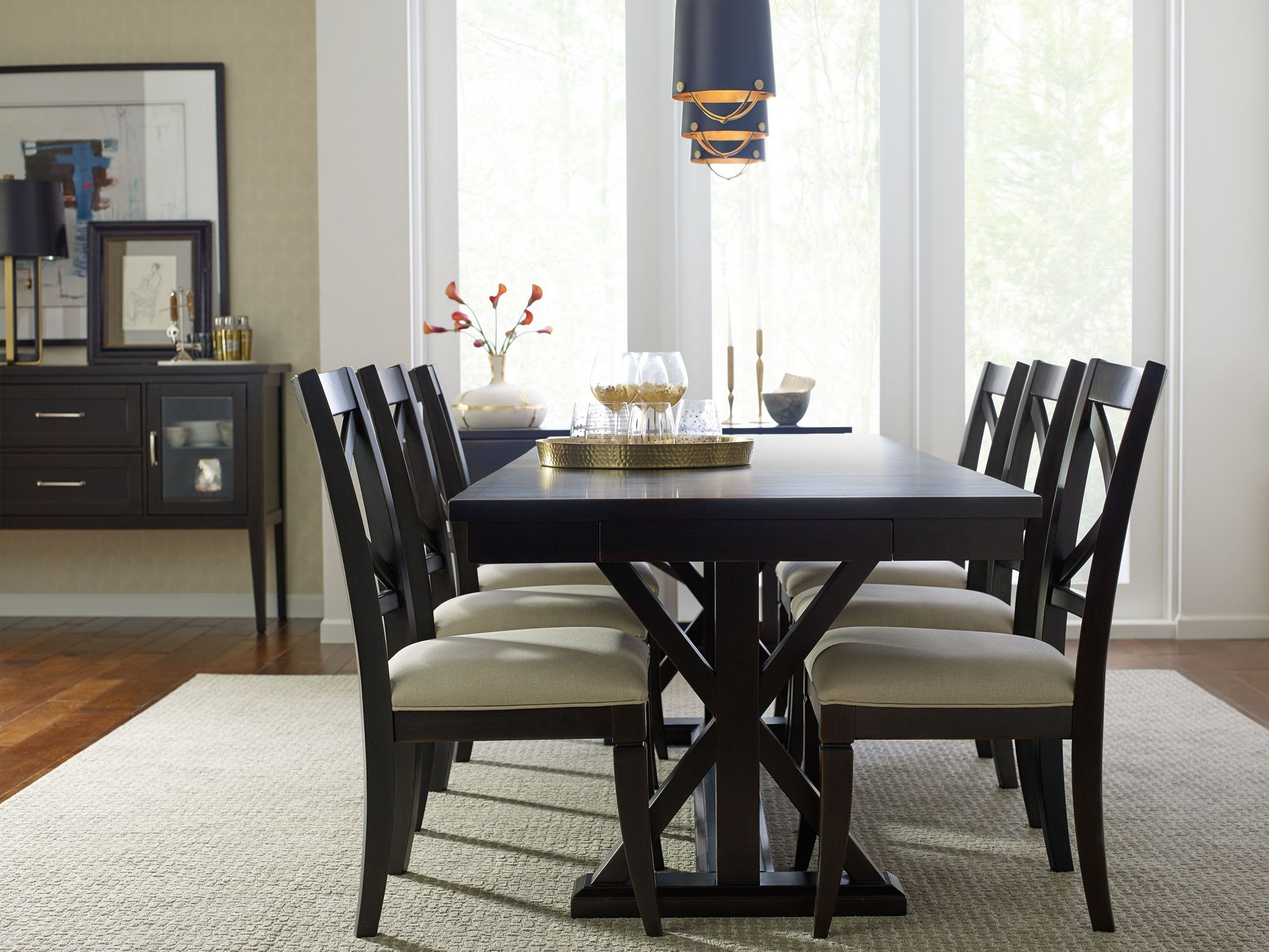 Everyday Peppercorn Trestle Dining Room Set From Rachael