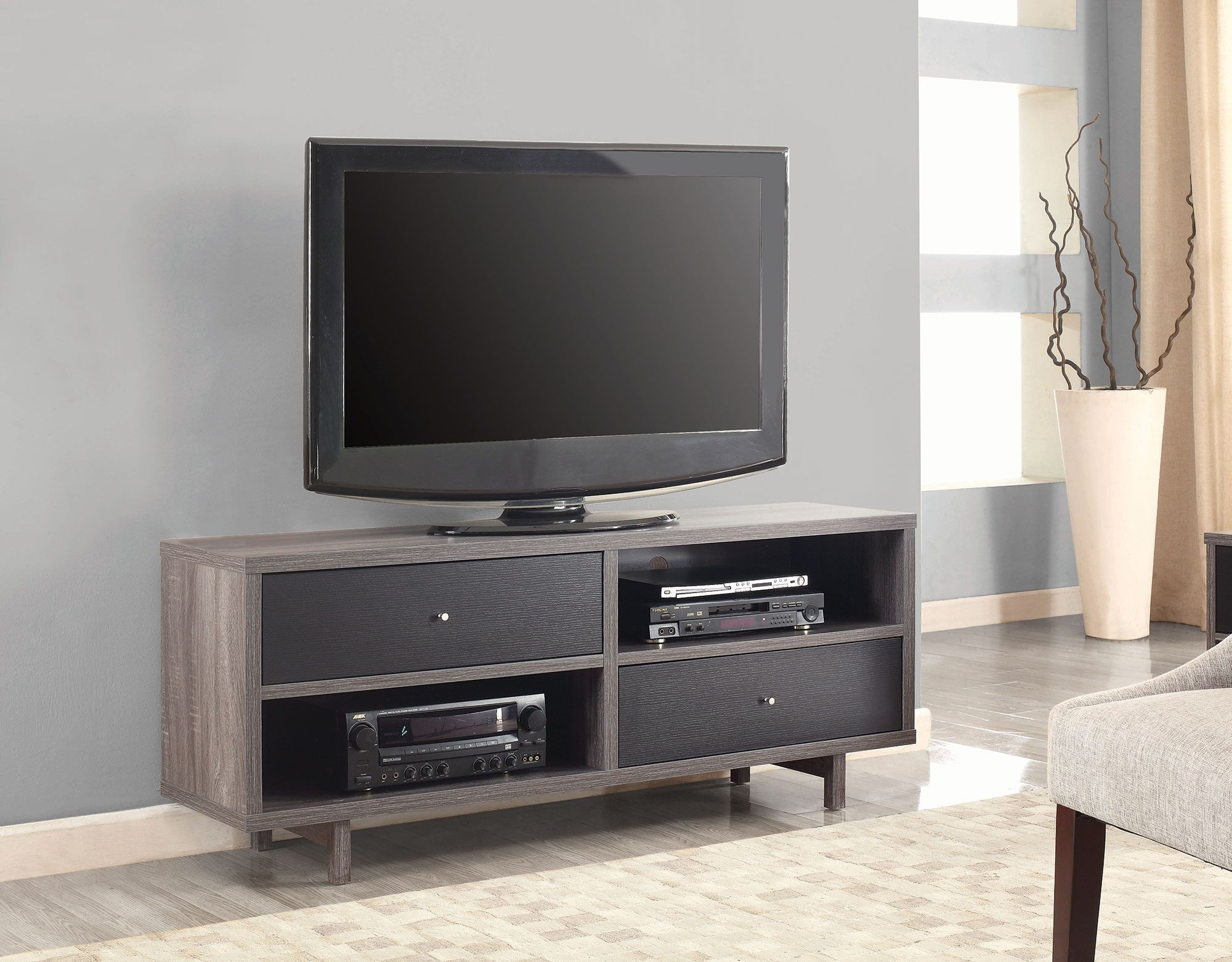 Distressed Grey And Black Tv Stand From Coaster Coleman