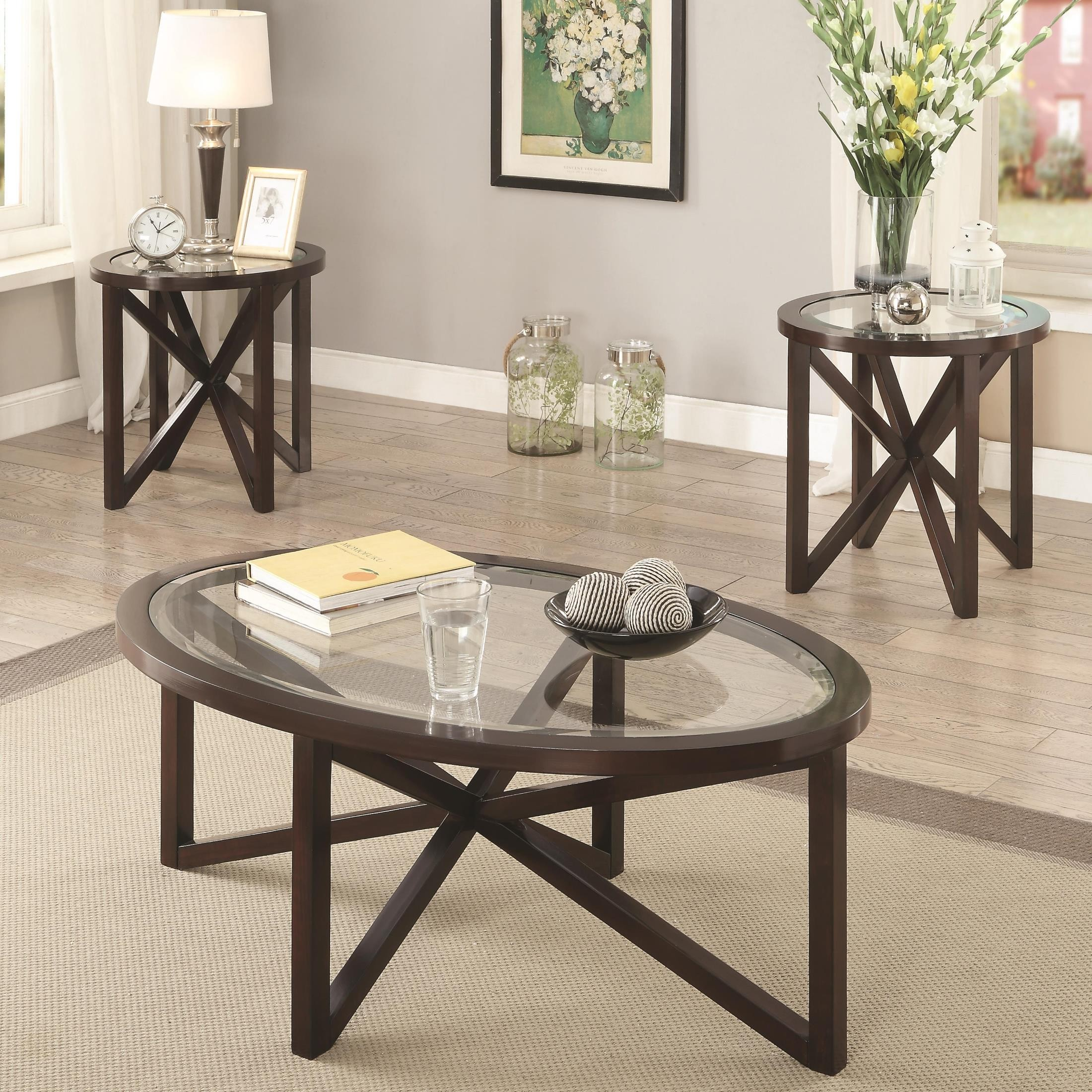 3 Piece Cappuccino Occasional Table Set from Coaster