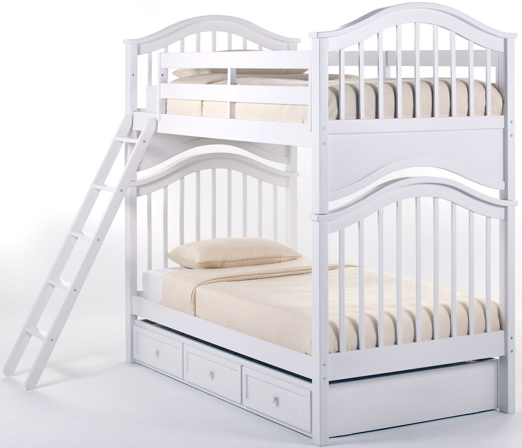 School House White Jordan Twin Over Twin Bunk Bed With