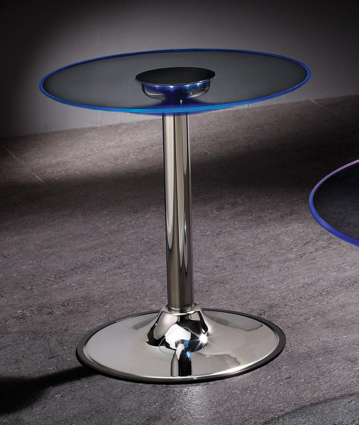 Led Coffee Table Set: LED Chrome End Table 701497 From Coaster (701497