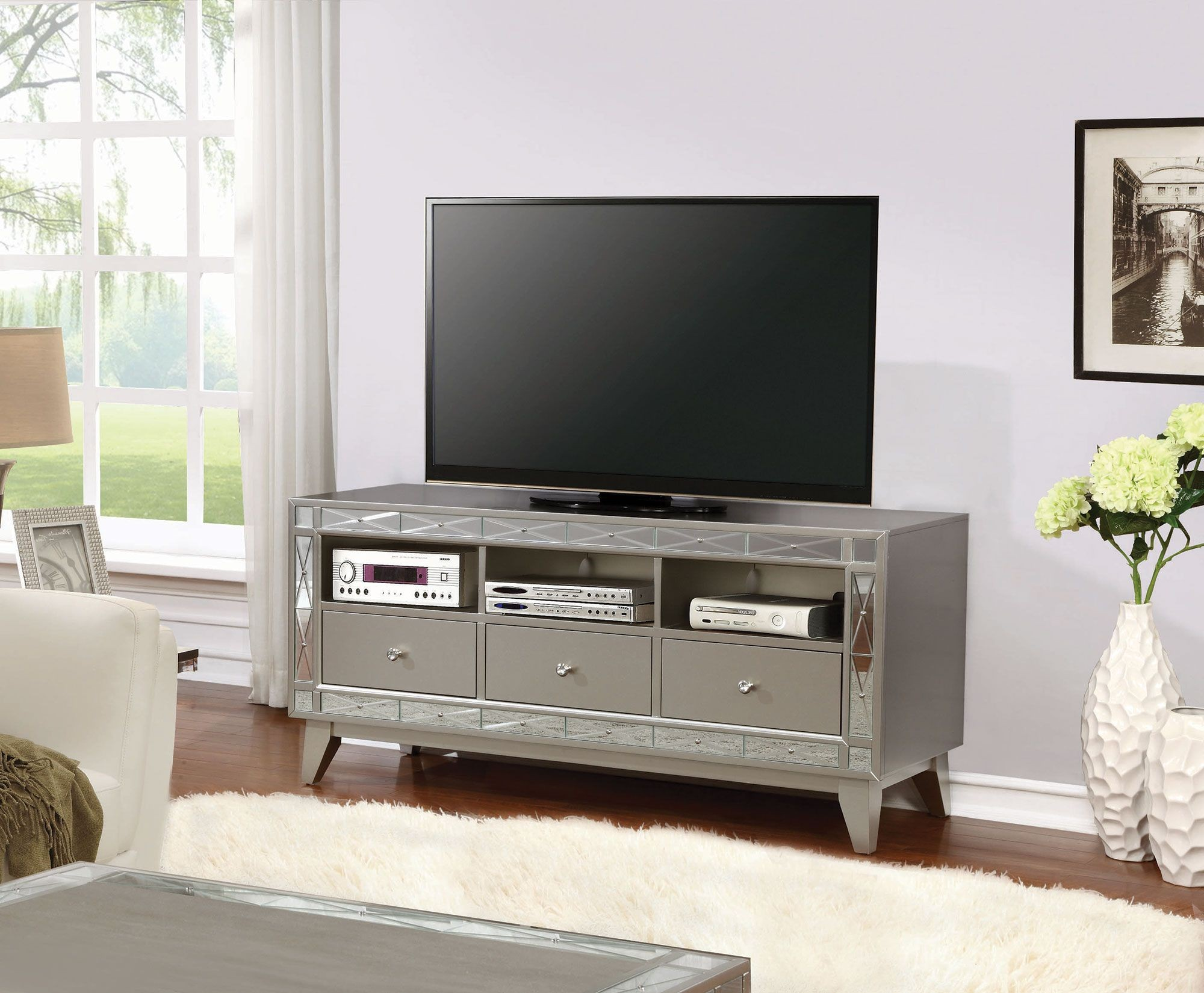Silver Tv Console From Coaster Coleman Furniture