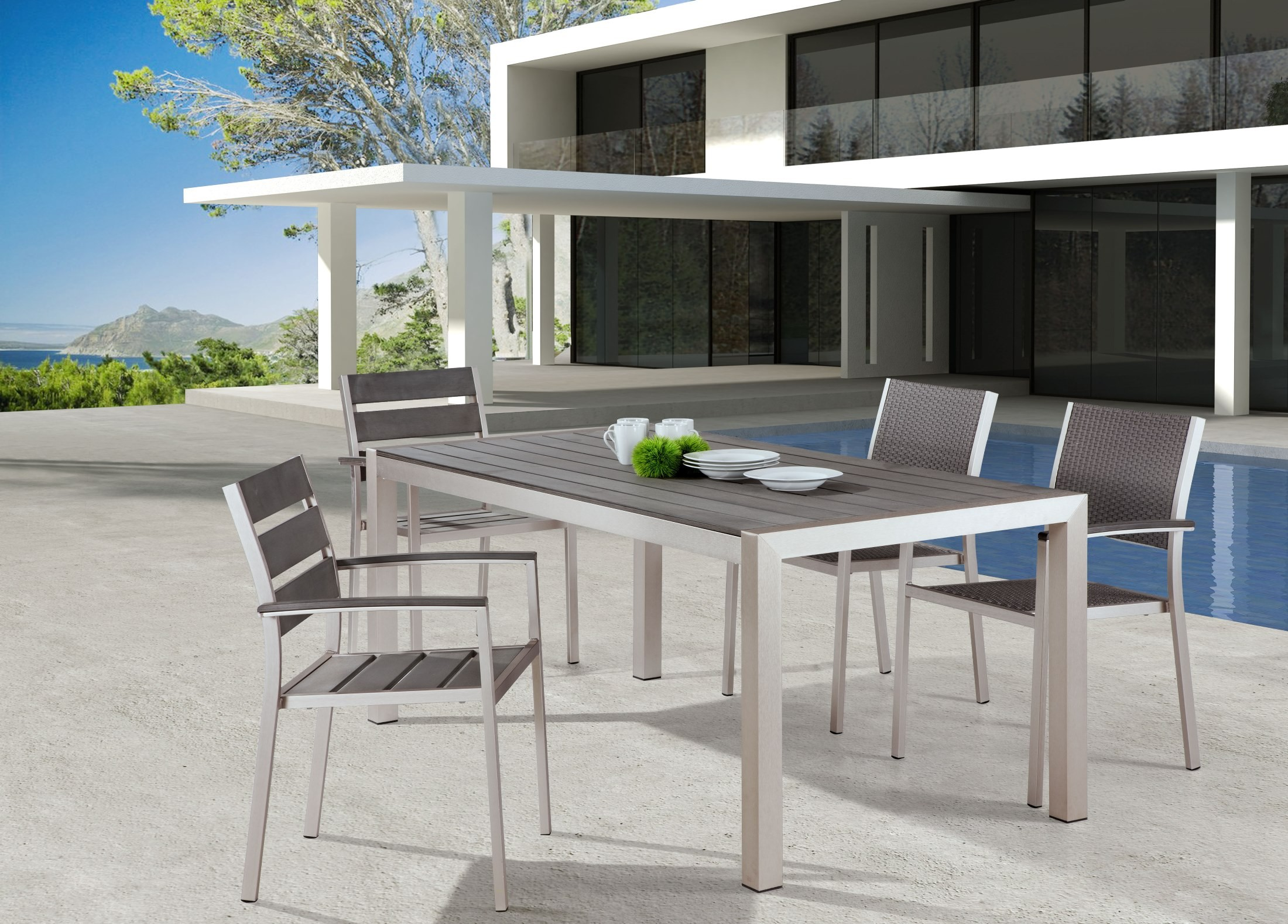 Metropolitan Brushed Aluminum Dining Room Set   New