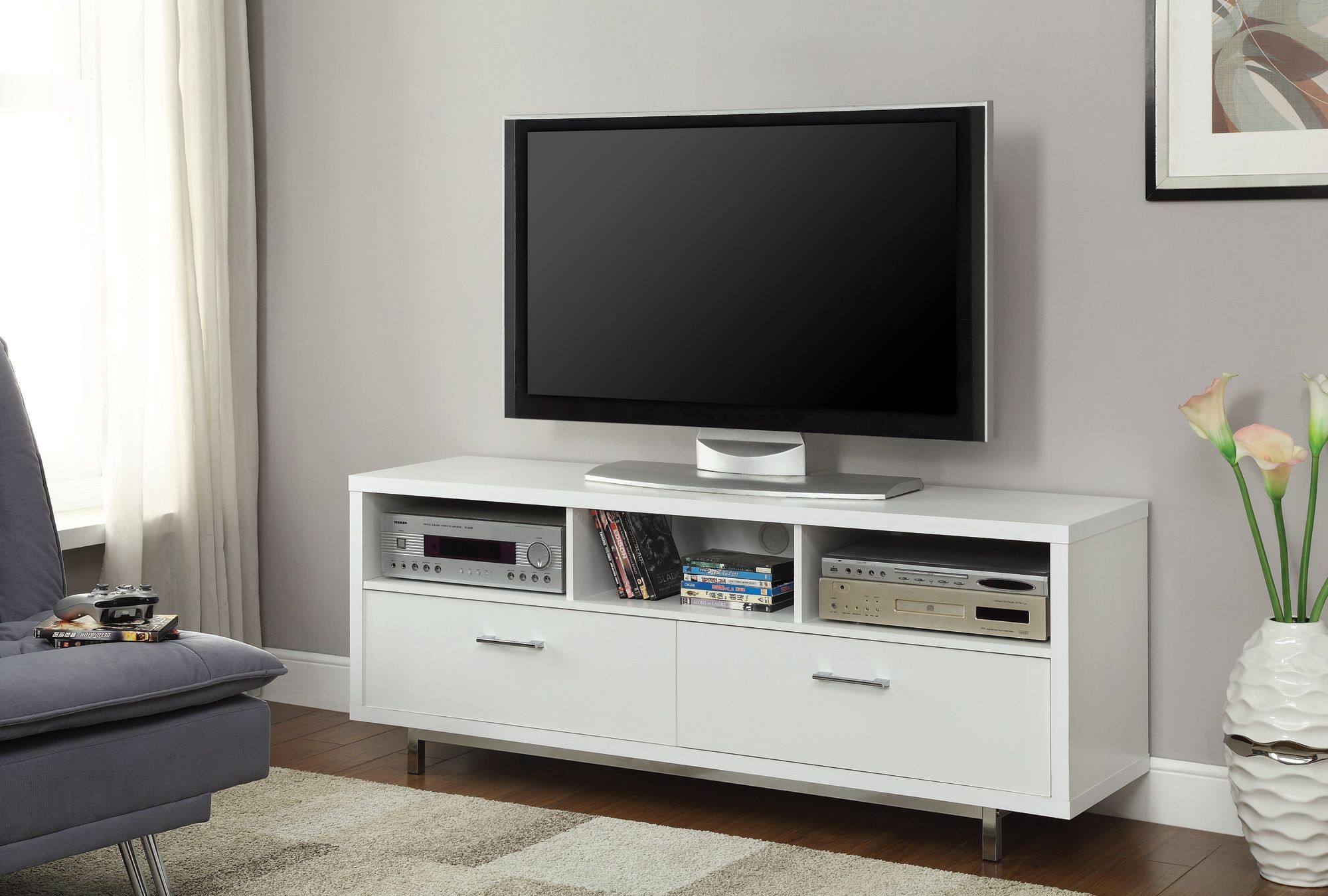 701972 white storage tv console from coaster 701972 for Tv console with storage