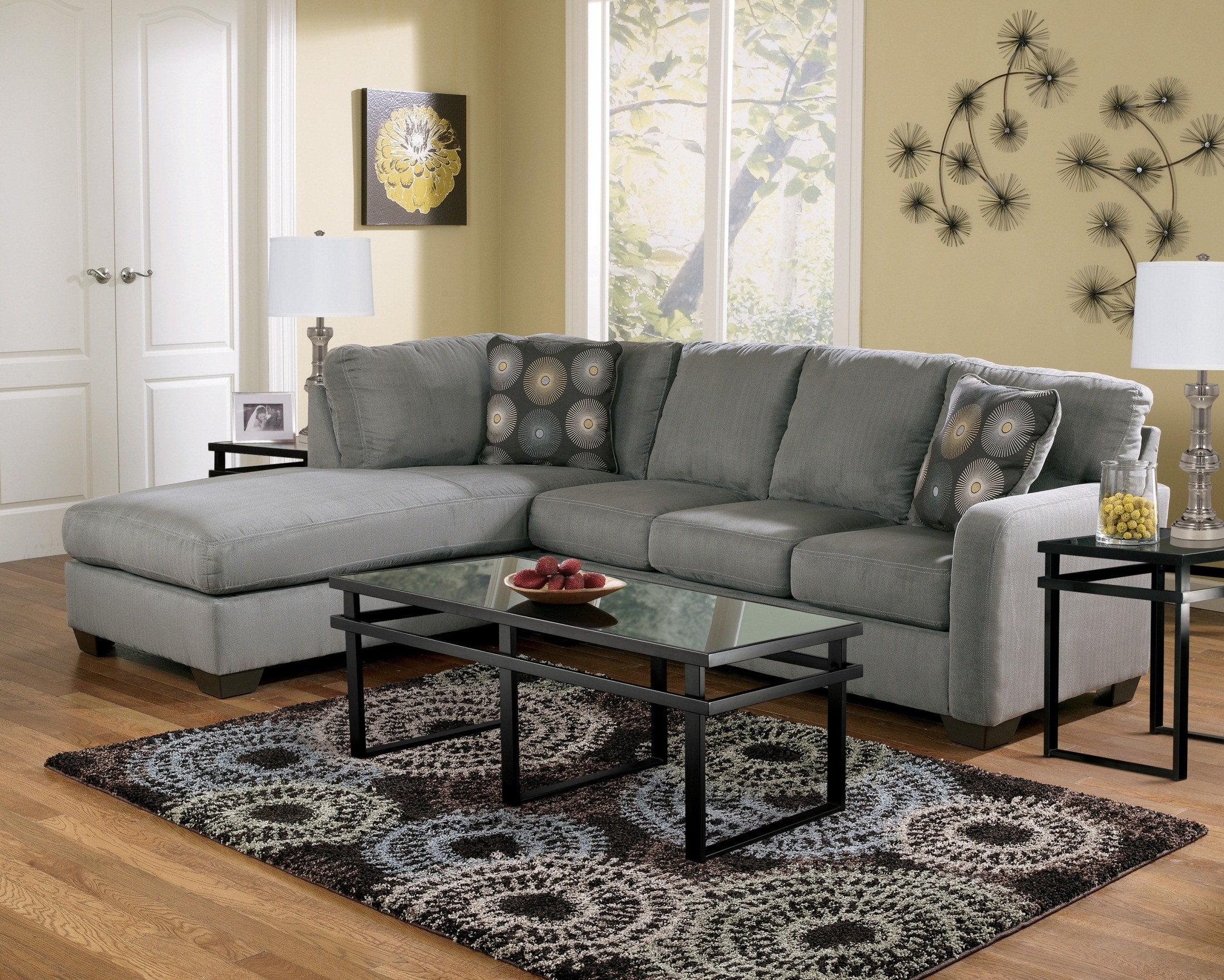 Zella Charcoal Left Arm Facing Sectional From Ashley