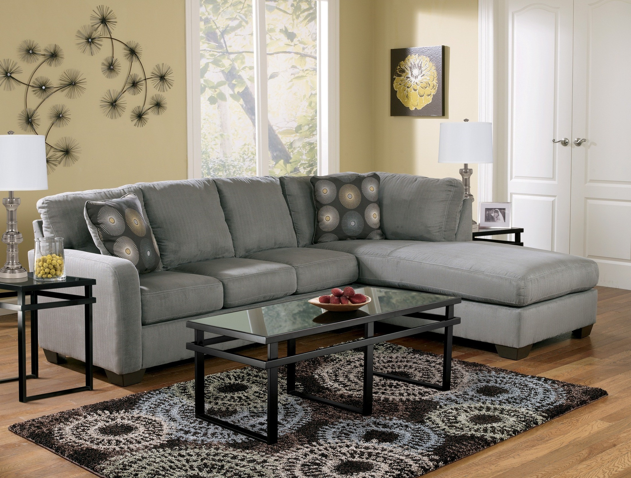 Zella Charcoal Right Arm Facing Sectional From Ashley