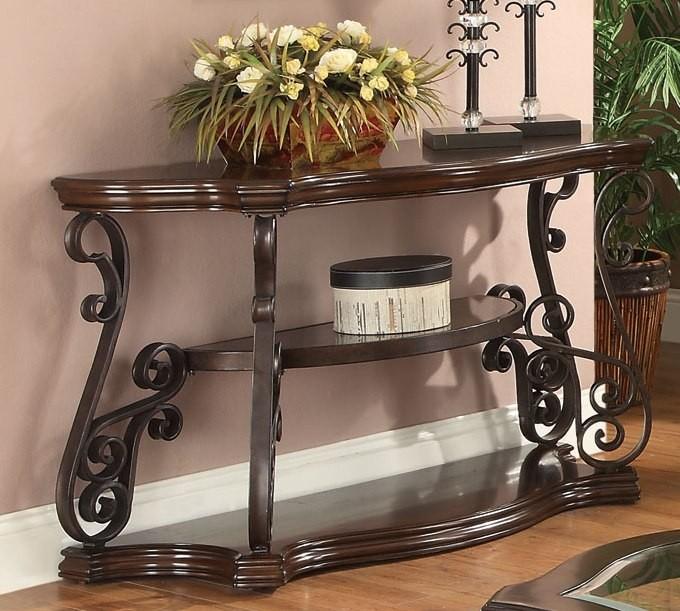 Mahogany Ornate Metal Sofa Table From Coaster 702449