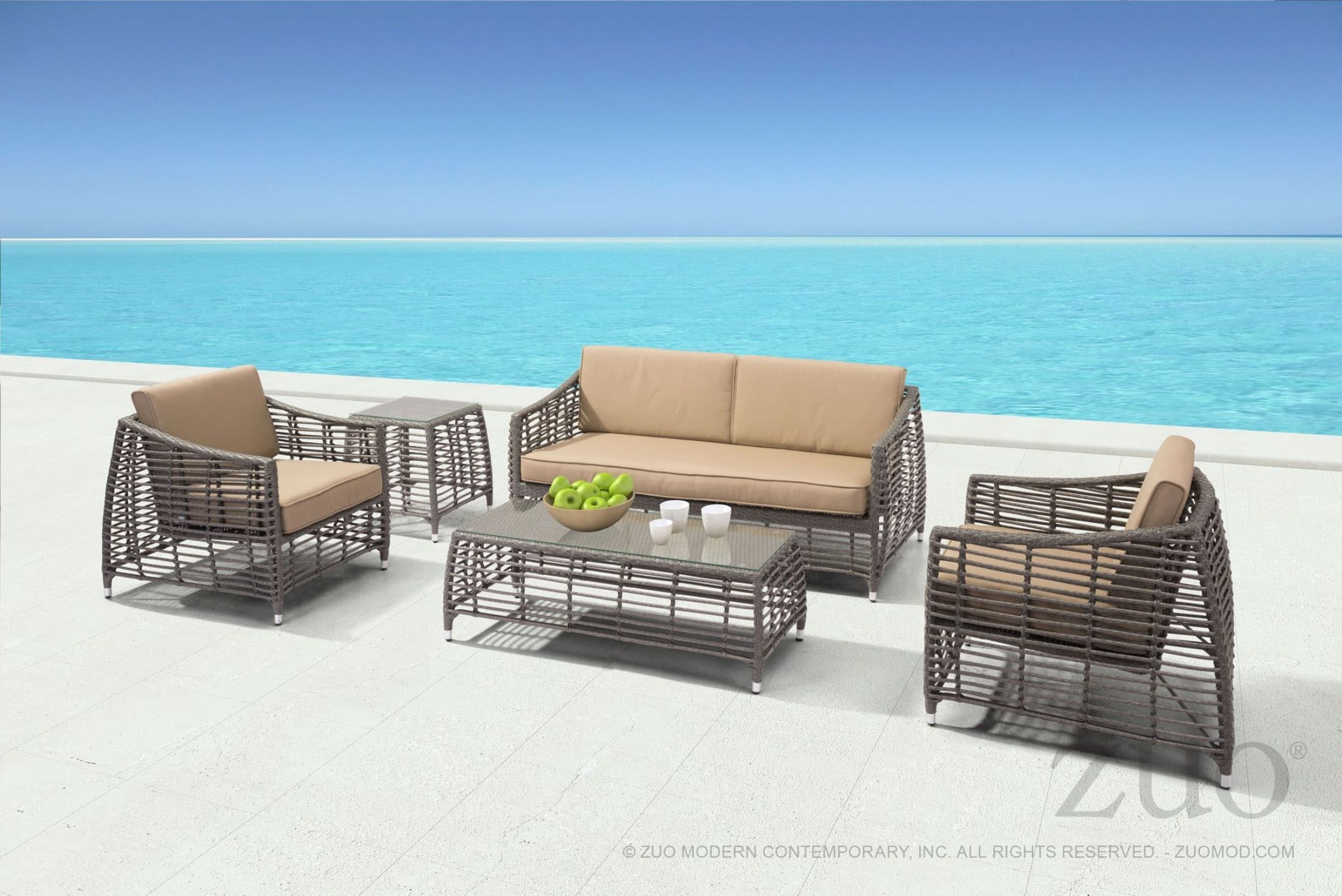 Trek Beach Gray and Beige Occasional Table Set from Zuo