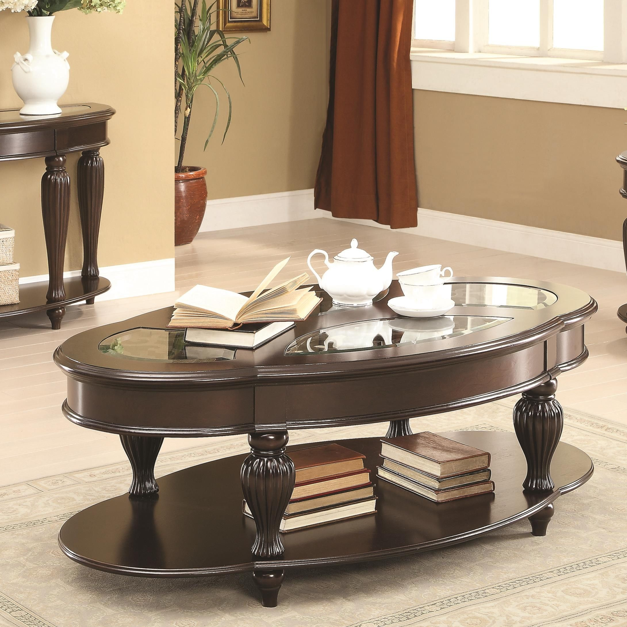703848 Dark Merlot Coffee Table From Coaster 703848 Coleman Furniture