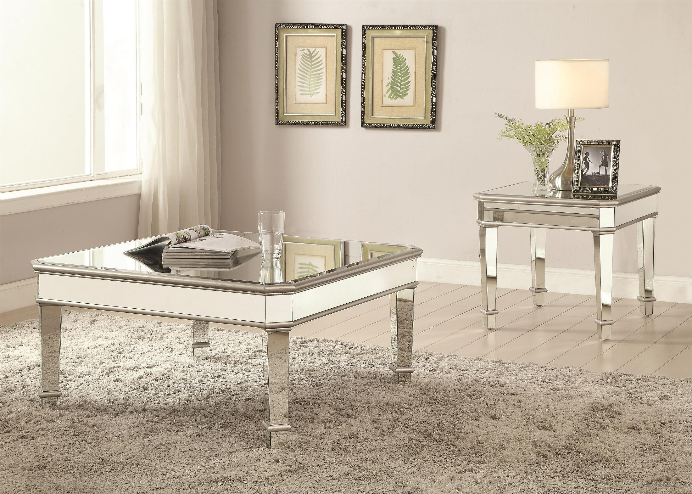Silver Mirror Panel End Table from Coaster
