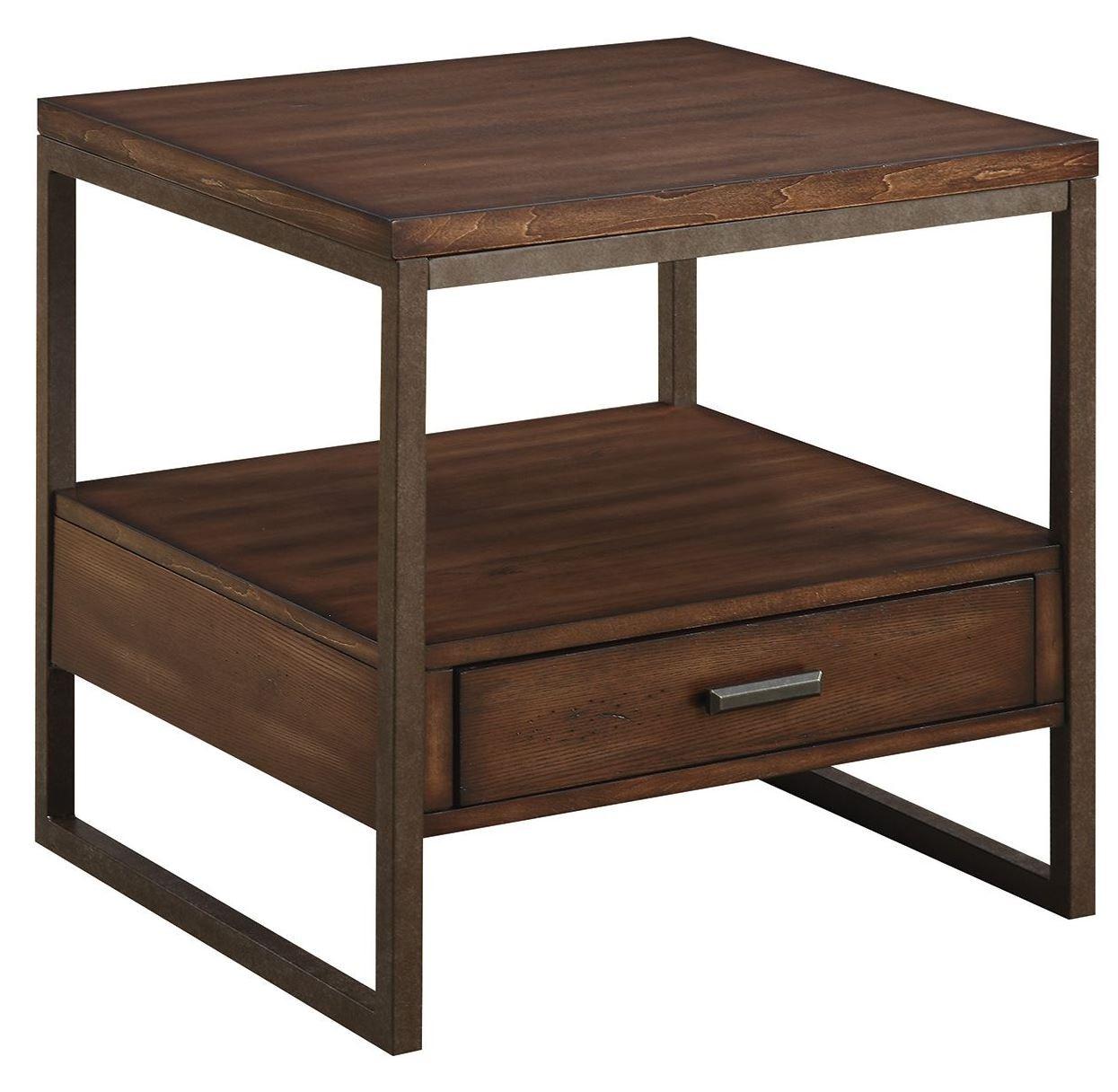 Ellery rustic brown metal end table from coaster