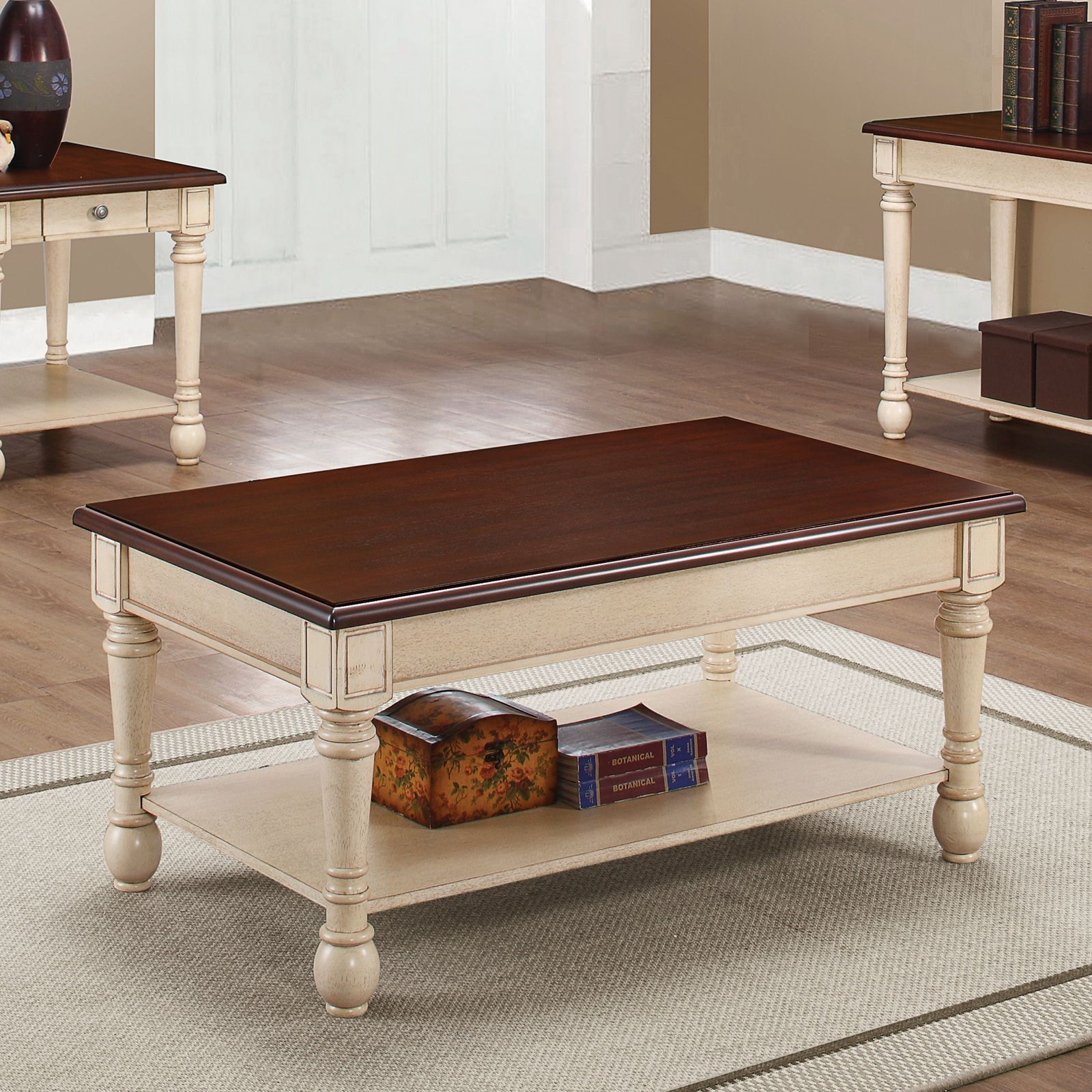 dark brown and white coffee table