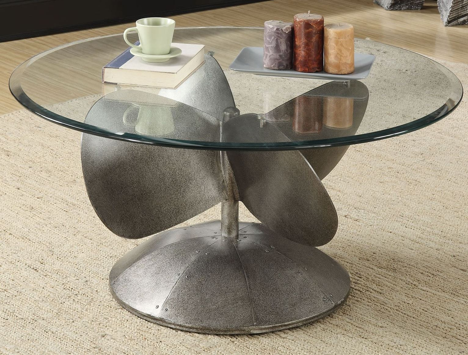 aged metal coffee table from coaster coleman furniture. Black Bedroom Furniture Sets. Home Design Ideas