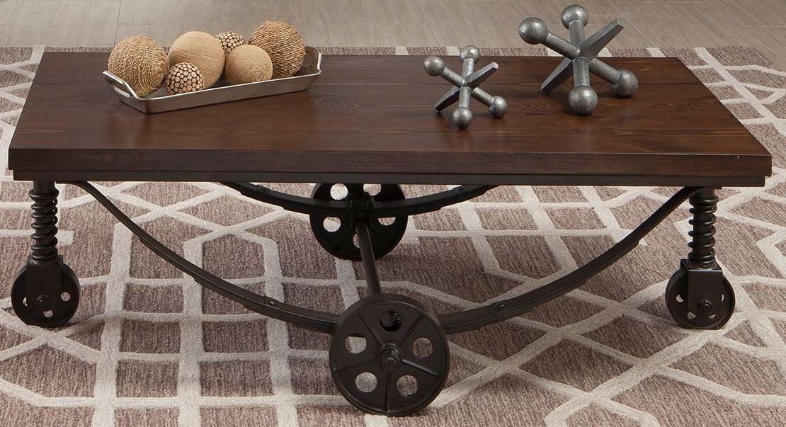 Chestnut and rustic bronze coffee table from coaster coleman furniture Bronze coffee tables