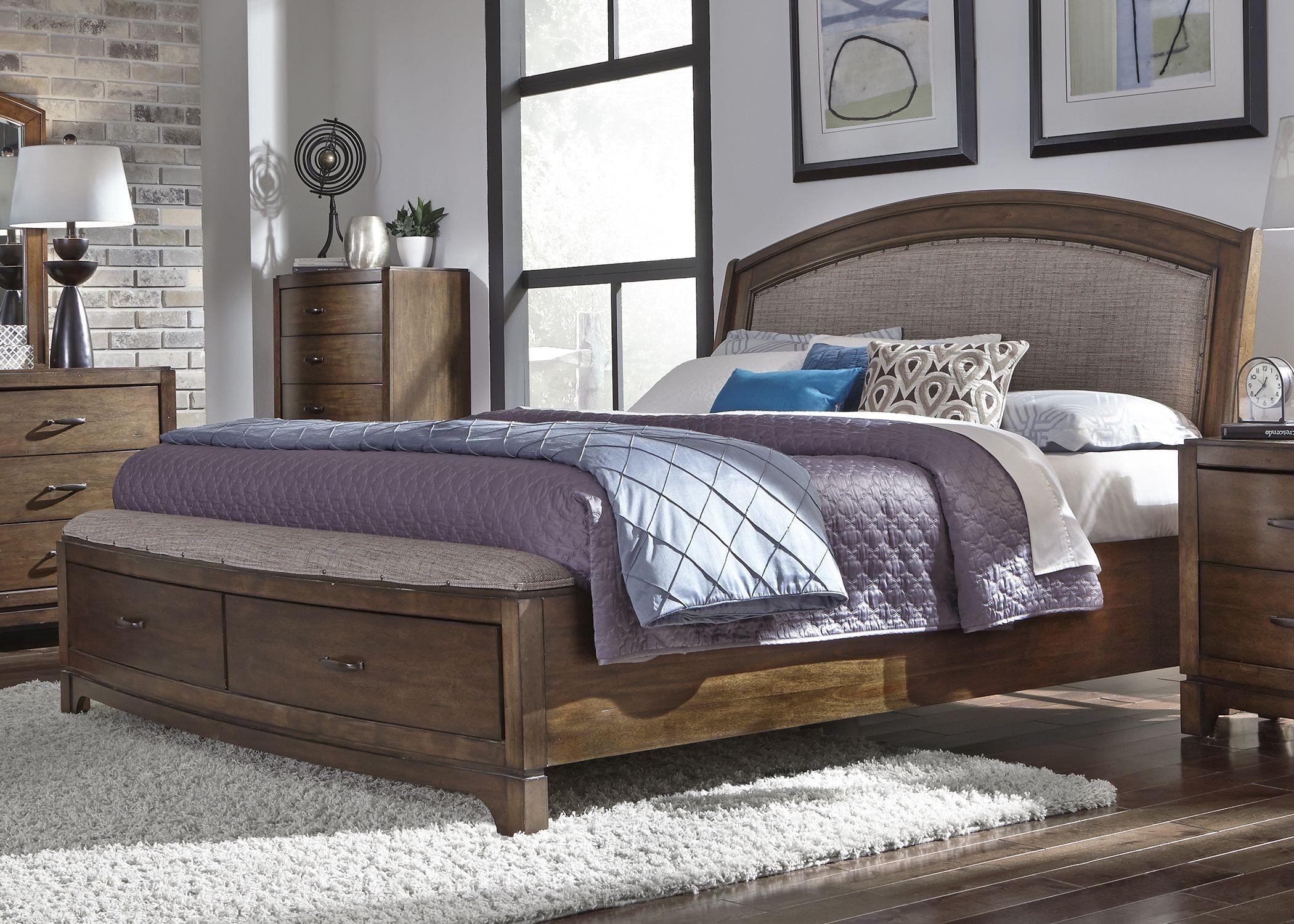 avalon iii pebble brown upholstered storage bedroom set from liberty coleman furniture. Black Bedroom Furniture Sets. Home Design Ideas