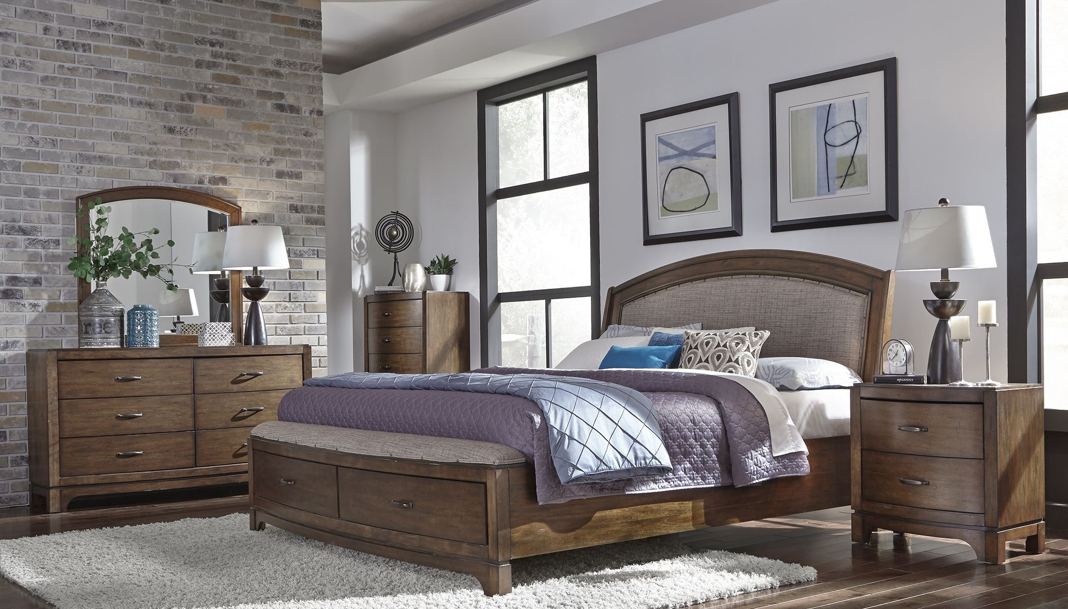 Avalon III Pebble Brown Upholstered Storage Bedroom Set from ...