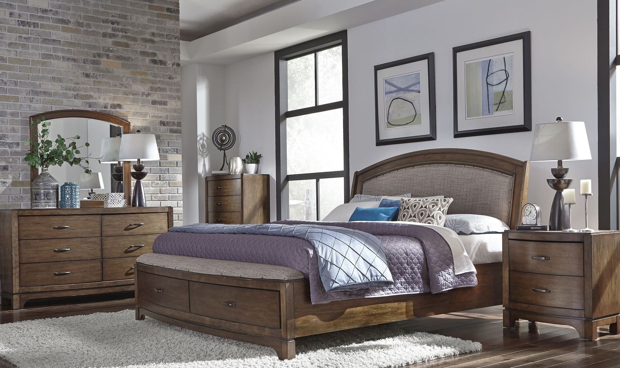 Avalon III Pebble Brown Upholstered Storage Bedroom Set