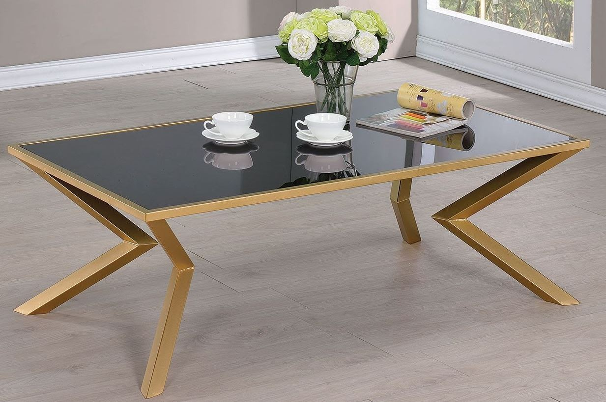 Black Glass And Brushed Brass Coffee Table From Coaster