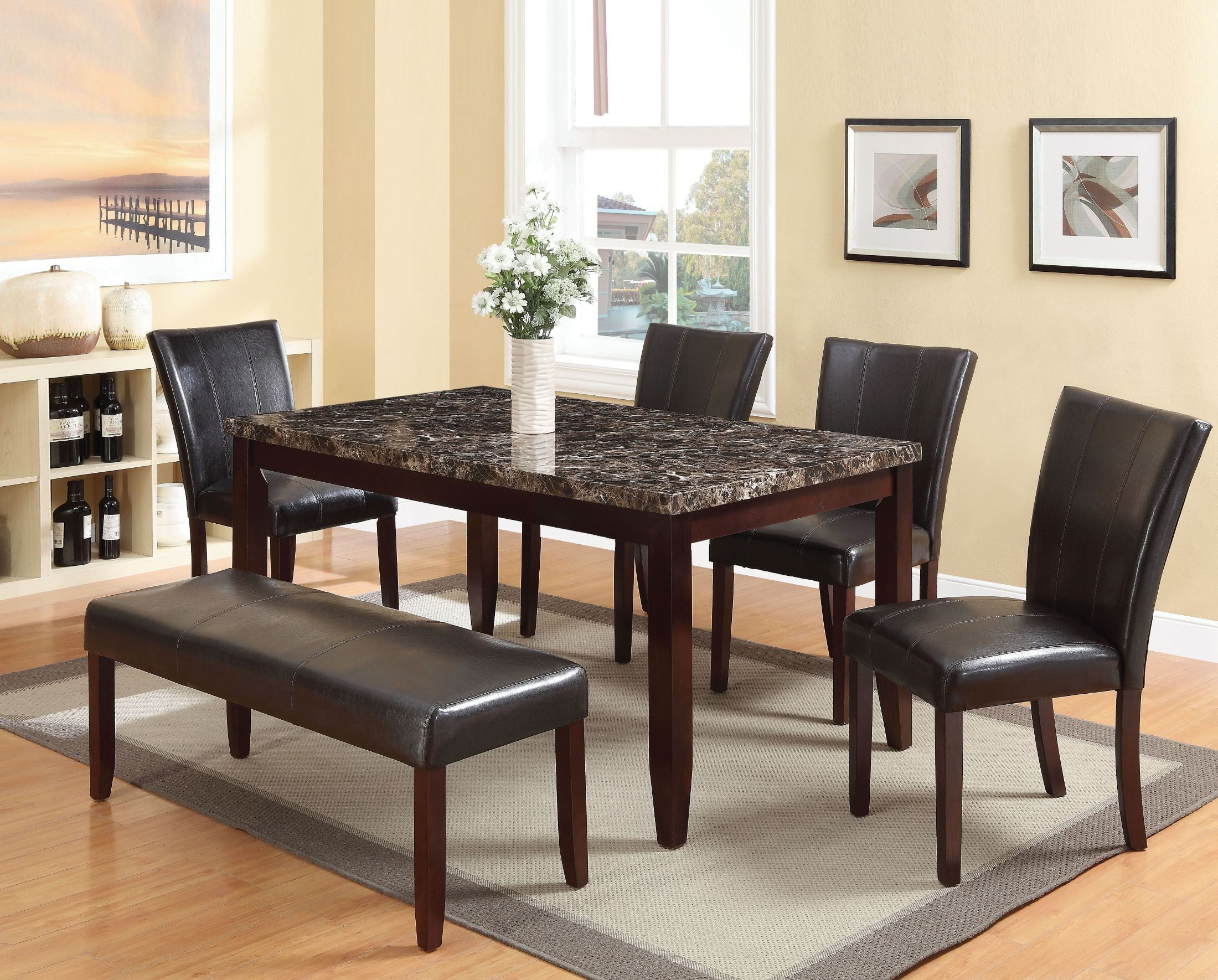 Idris Faux Marble And Espresso Dining Room Set