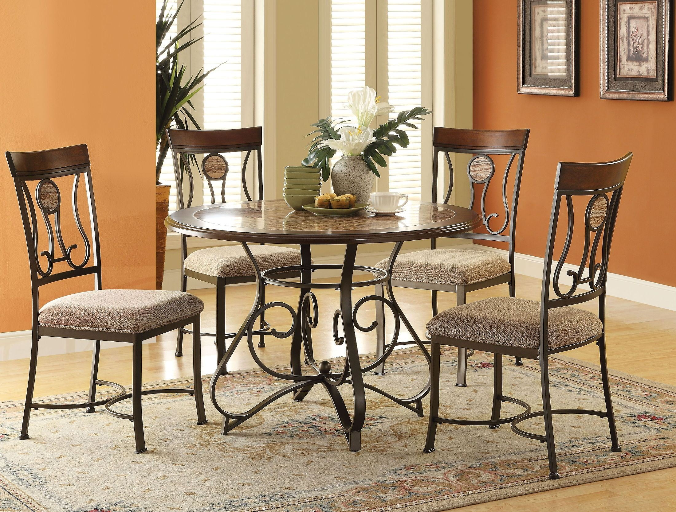 Barrie Faux Marble Round Dining Room Set From Acme Coleman Furniture - 70 round dining room table
