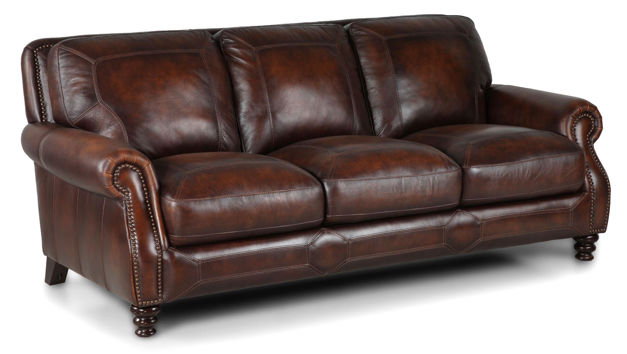 X. Ashland Espresso Leather Sofa