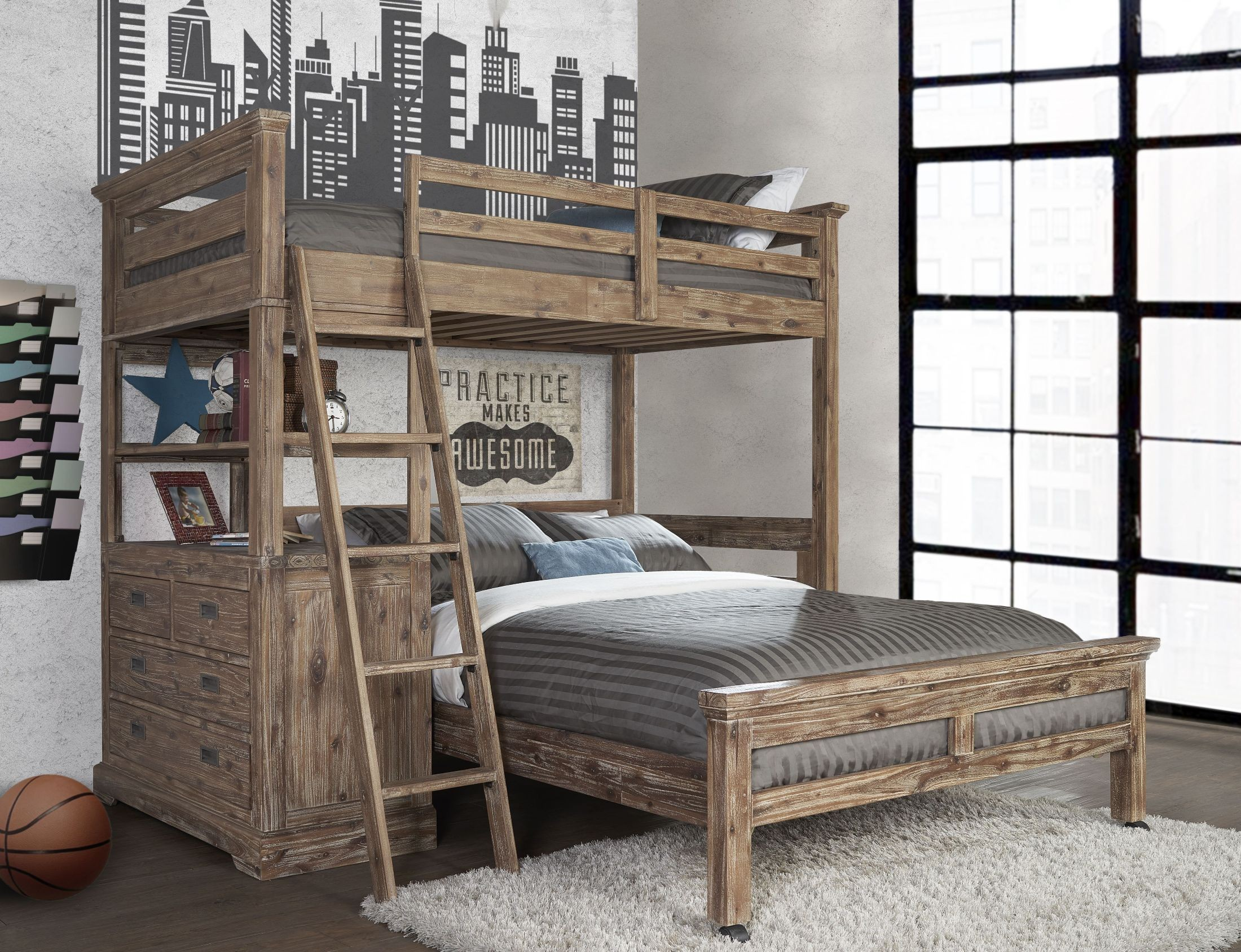Oxford Cocoa Twin Loft With 4 Drawer Chest & Full Lower Bed from NE ...