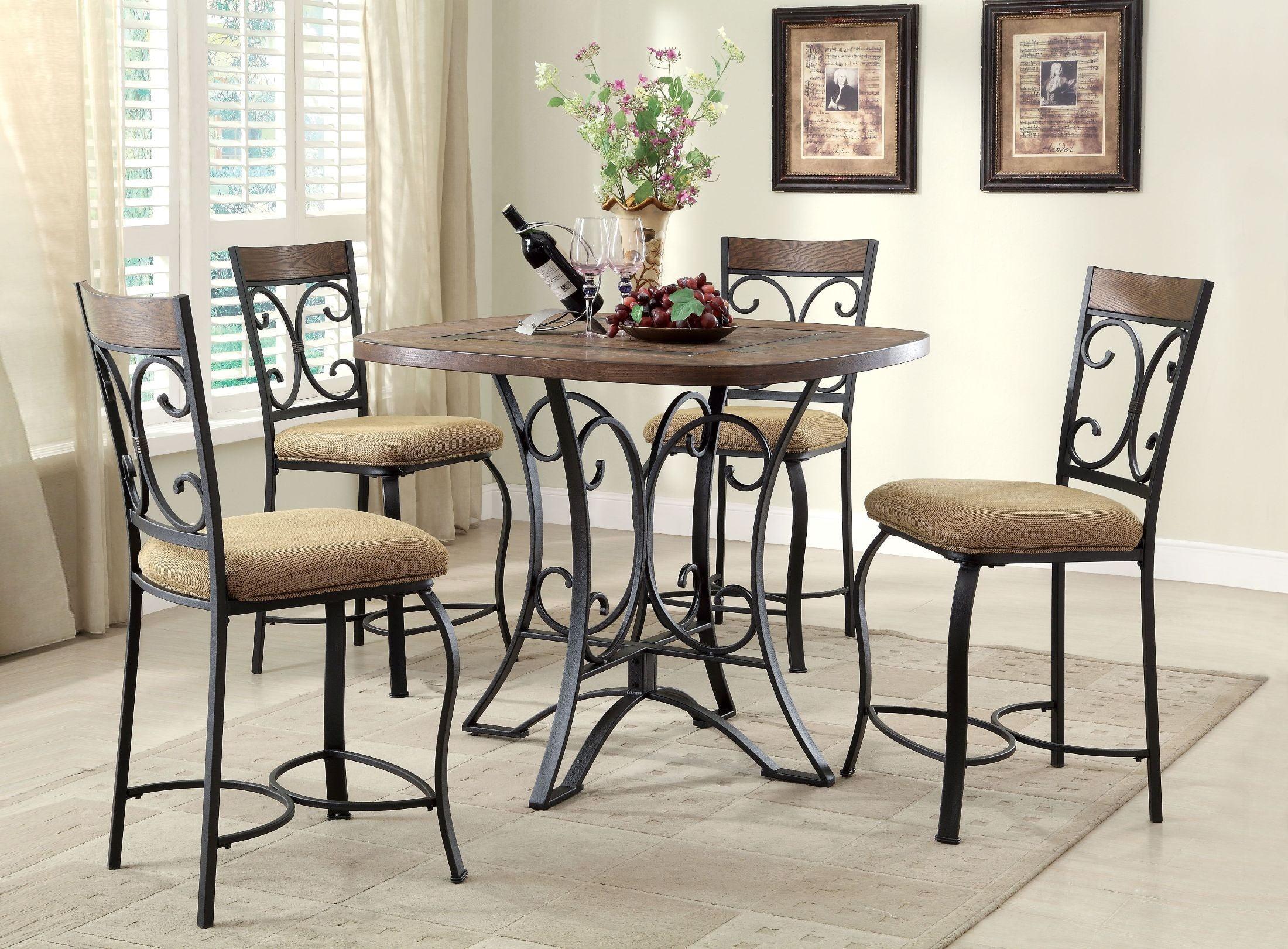 kiele oak and antique black counter height dining room set from acme coleman furniture. Black Bedroom Furniture Sets. Home Design Ideas