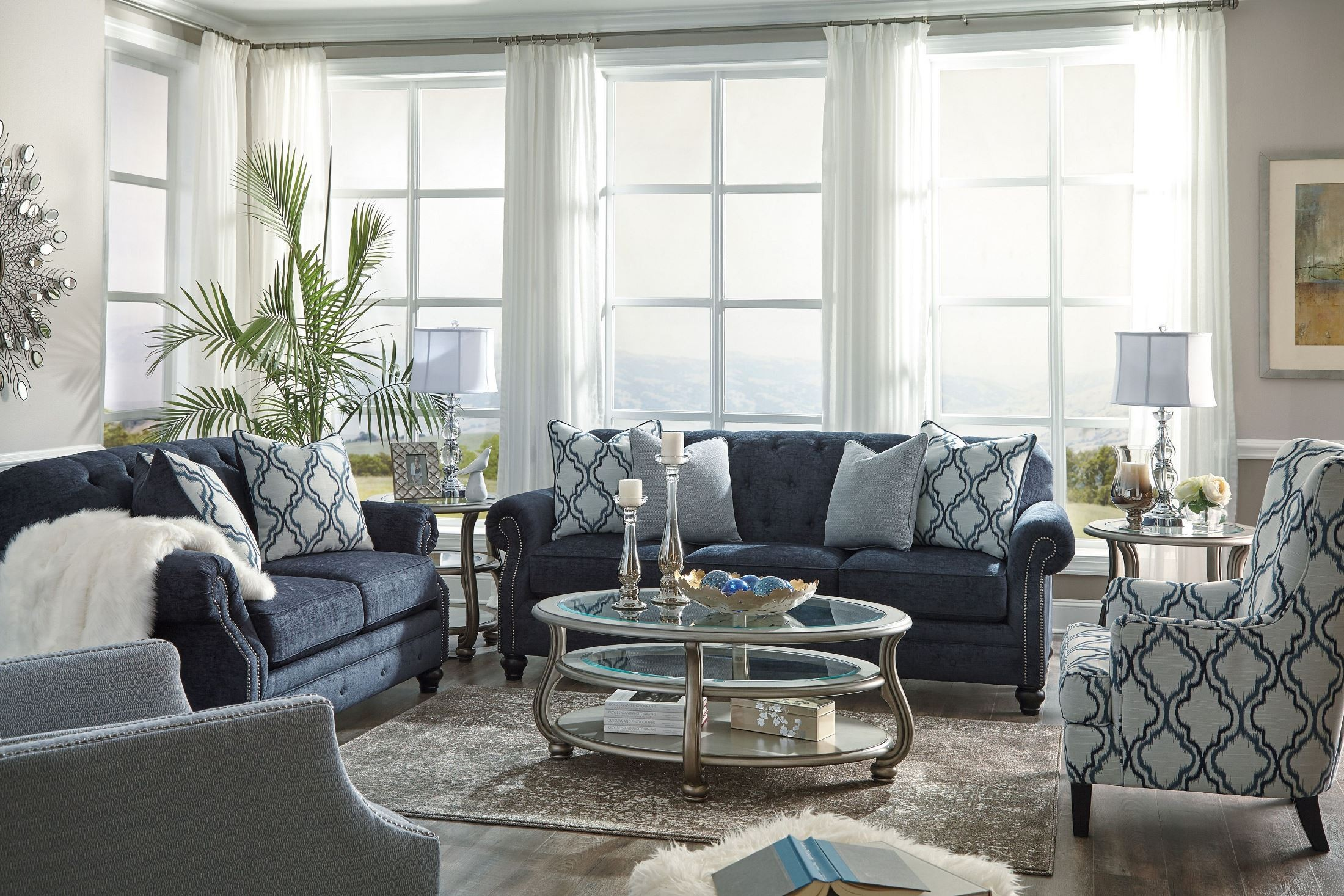 lavernia navy living room set from ashley coleman furniture. Black Bedroom Furniture Sets. Home Design Ideas