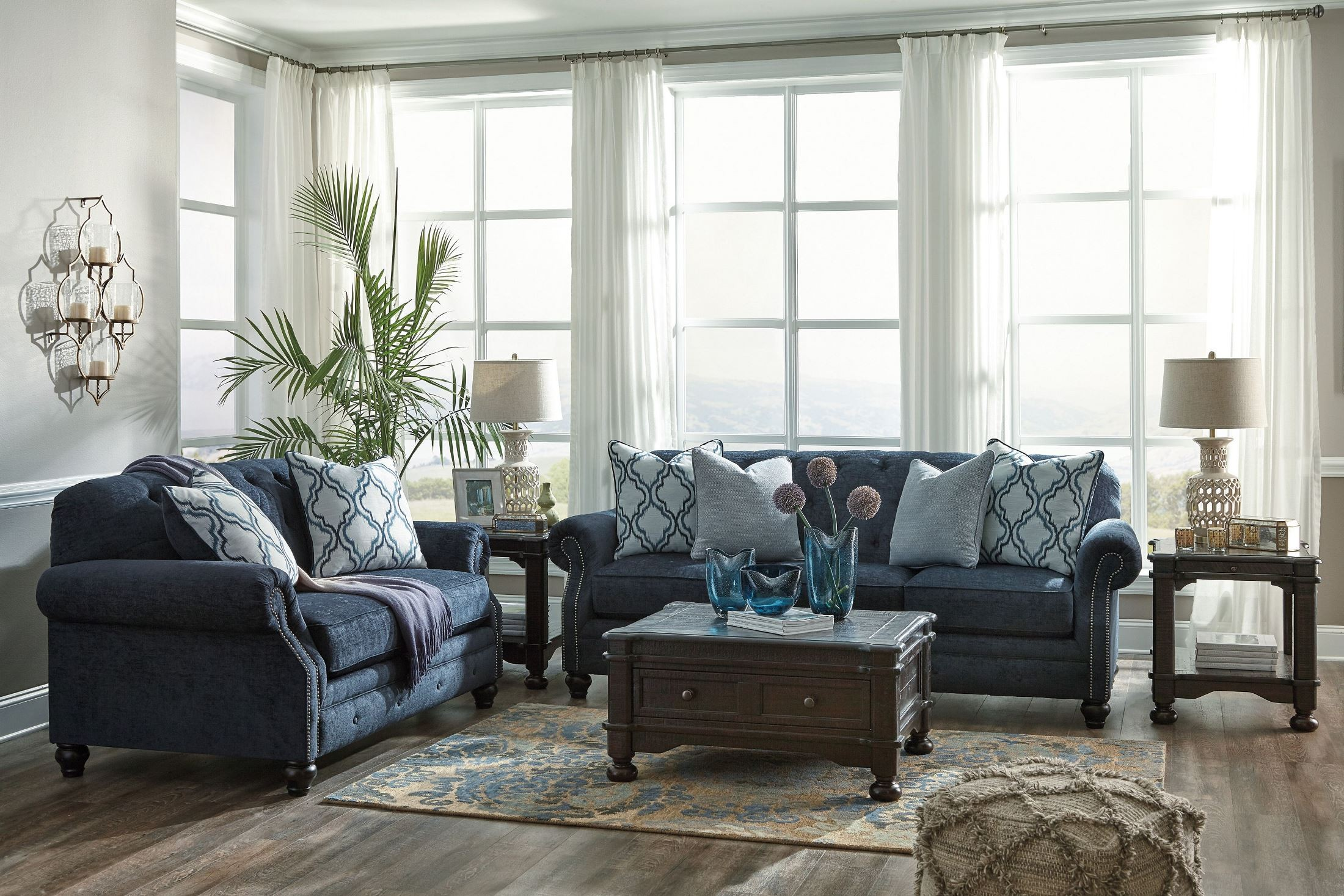 Lavernia navy loveseat from ashley coleman furniture for Best living room couches