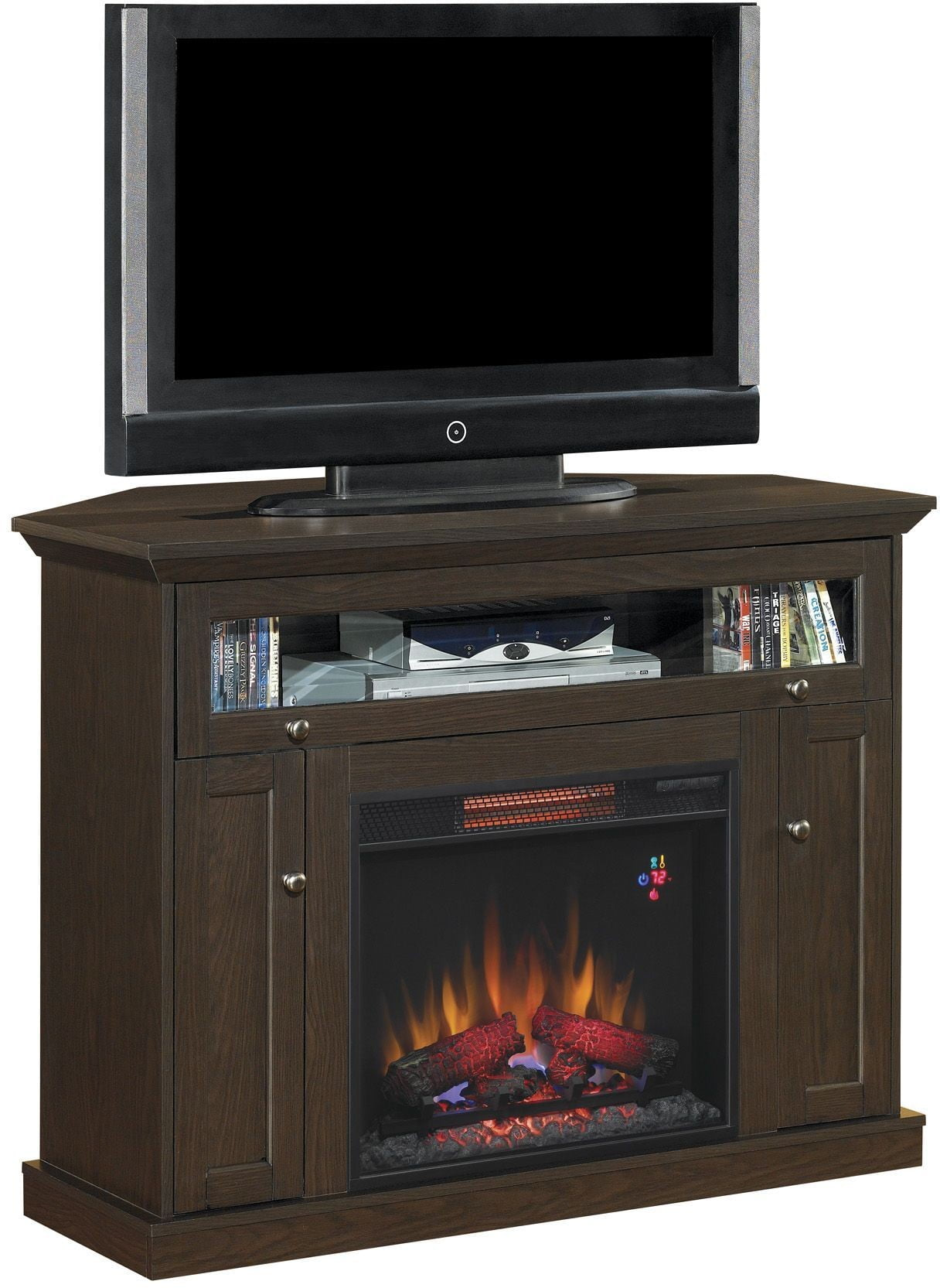 Classicflame Oak Espresso Windsor Tv Stand With 26 Infrared Quartz Fireplace From Twin Star