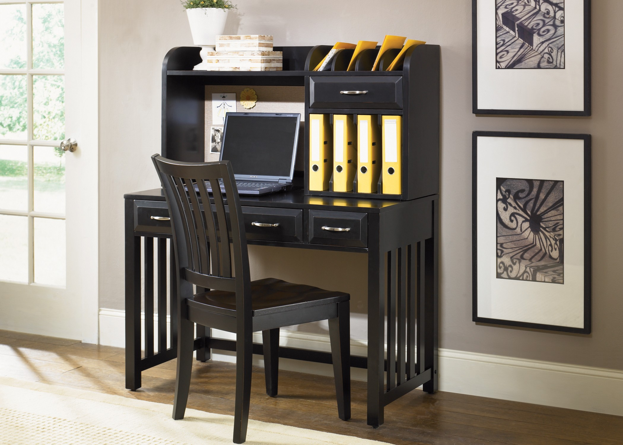 Hampton Bay Black Writing Desk with Hutch from Liberty (717-HO111-HO140) | Coleman Furniture